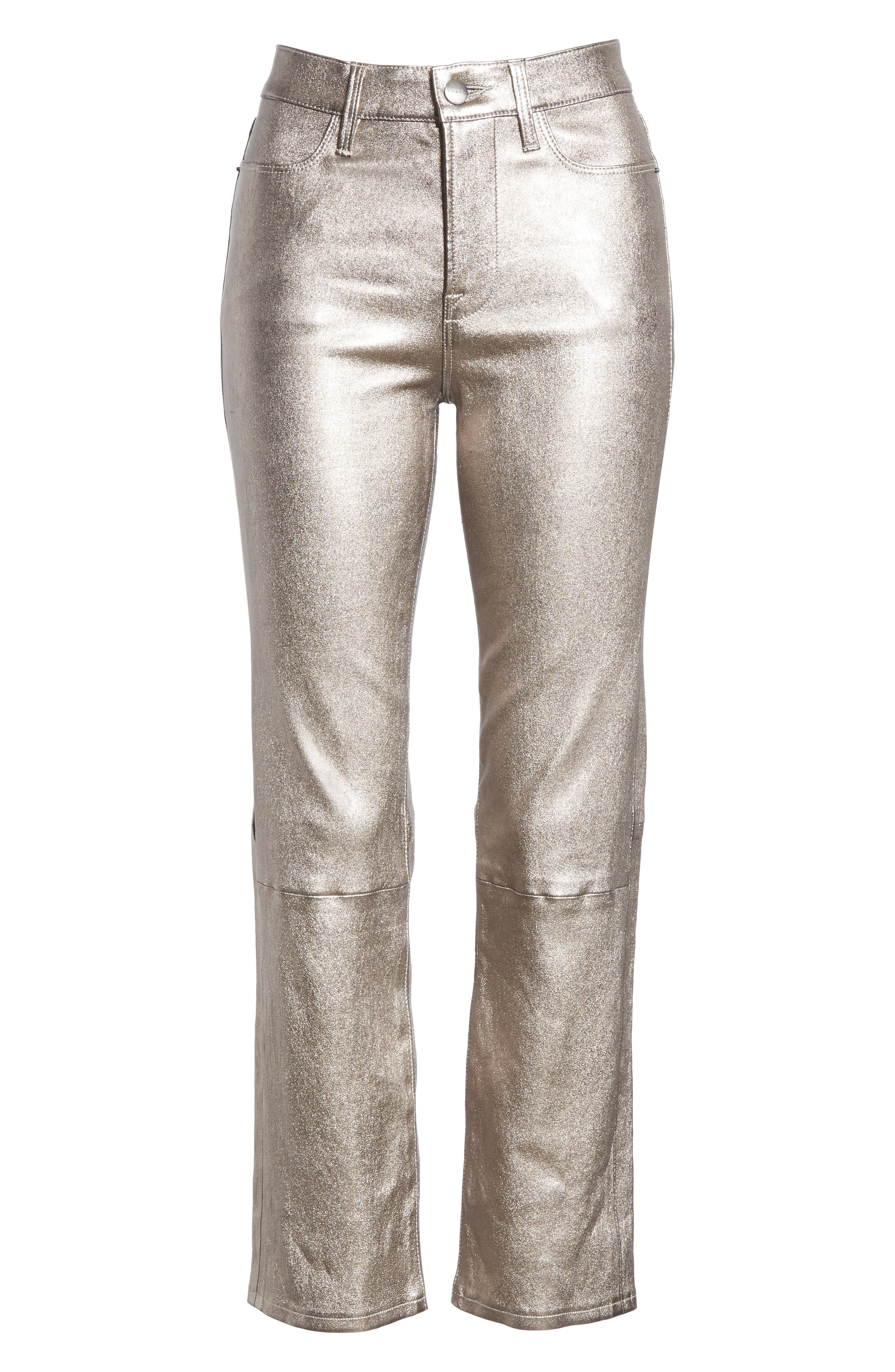 Straight Leg Metallic Leather Pants,                             Alternate thumbnail 6, color,                             LIGHT STEEL