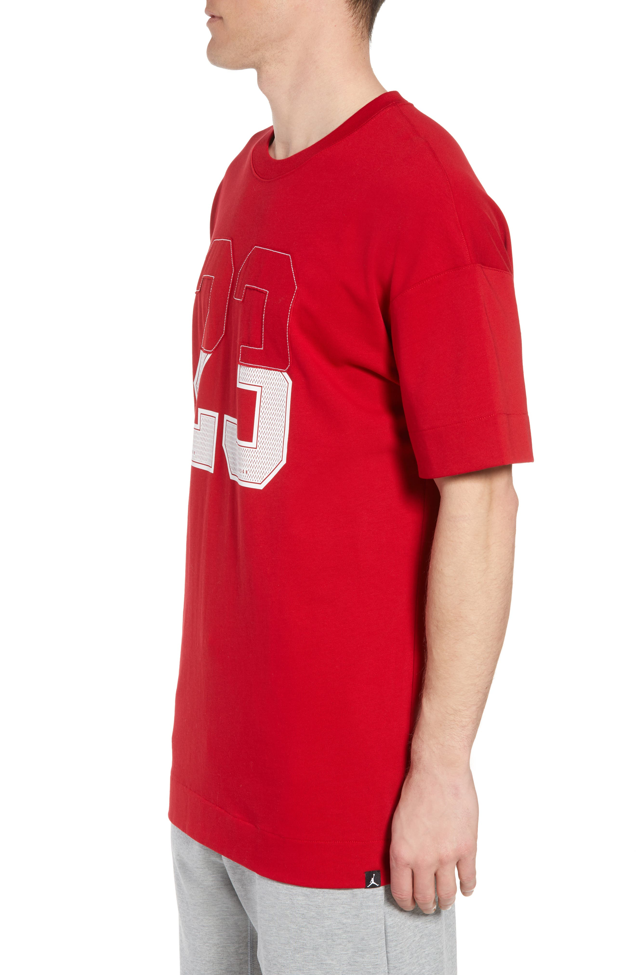 Nike Oversize 23 Graphic T-Shirt,                             Alternate thumbnail 3, color,                             GYM RED/ WHITE