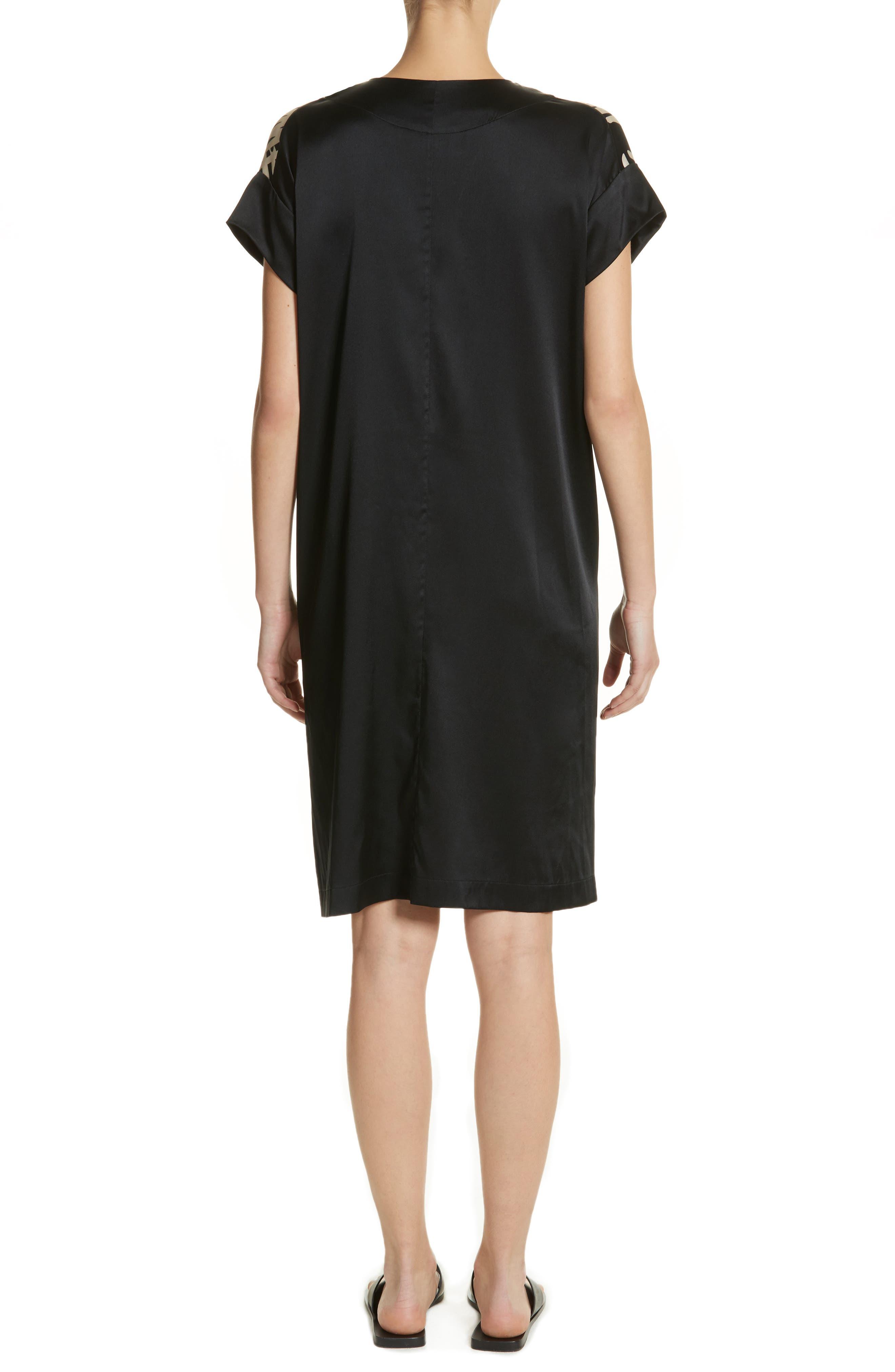 Bow Print Silk Blend Dress,                             Alternate thumbnail 2, color,                             001
