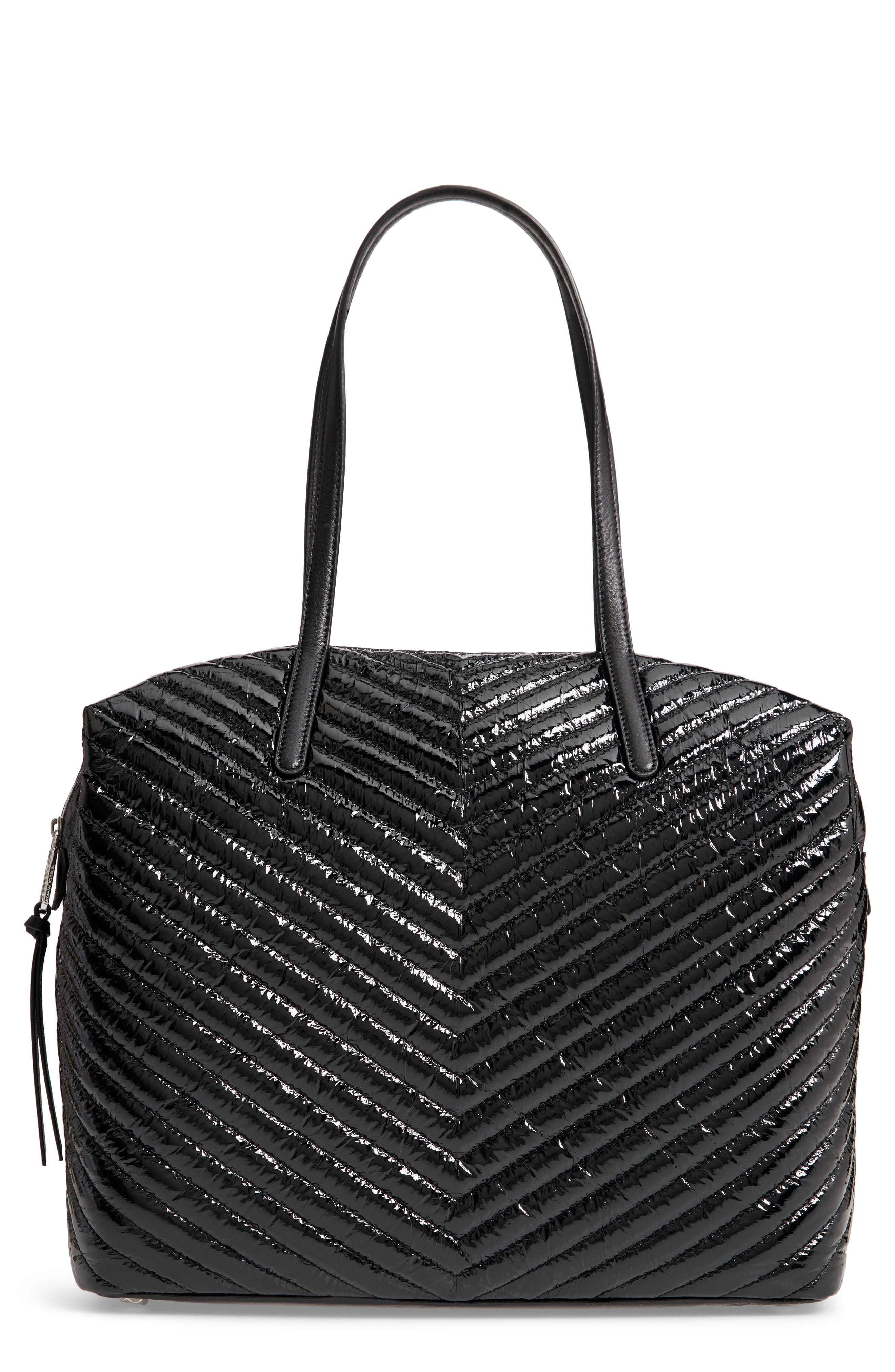 Quilted Nylon Tote,                         Main,                         color, BLACK