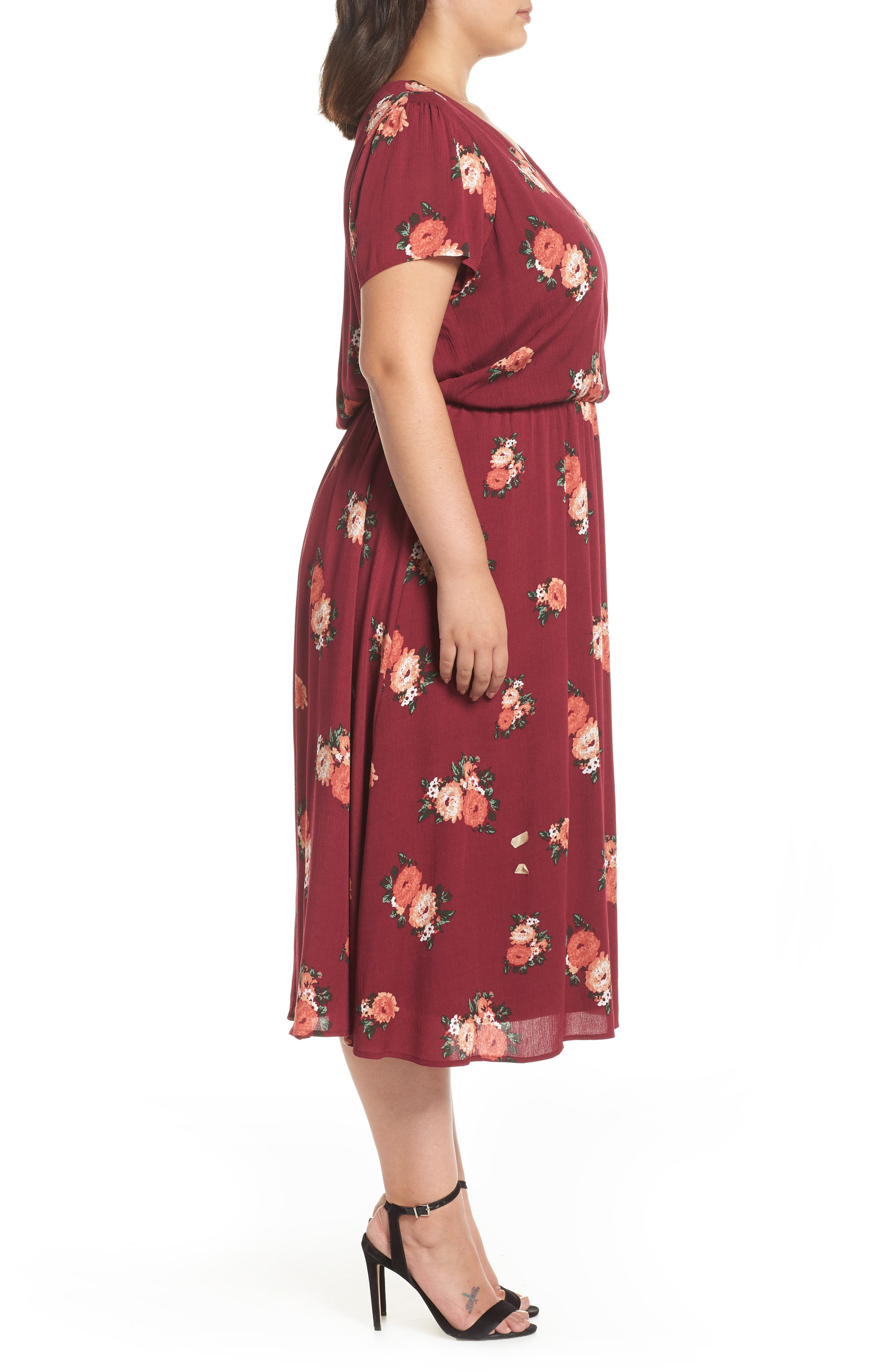 Blouson Midi Dress,                             Alternate thumbnail 3, color,                             RED RUMBA FLORAL