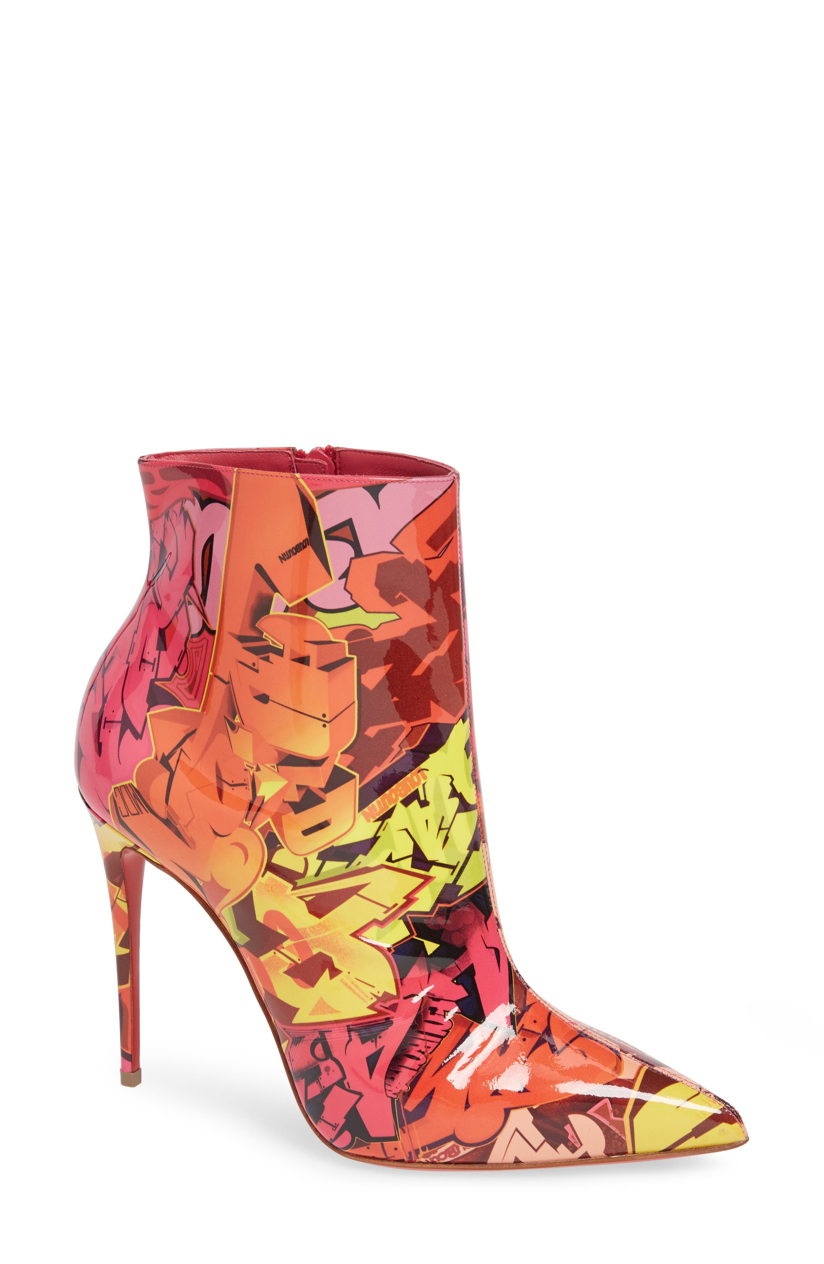 So Kate 100 Patent Metrograf Red Sole Booties in Red/ Orange