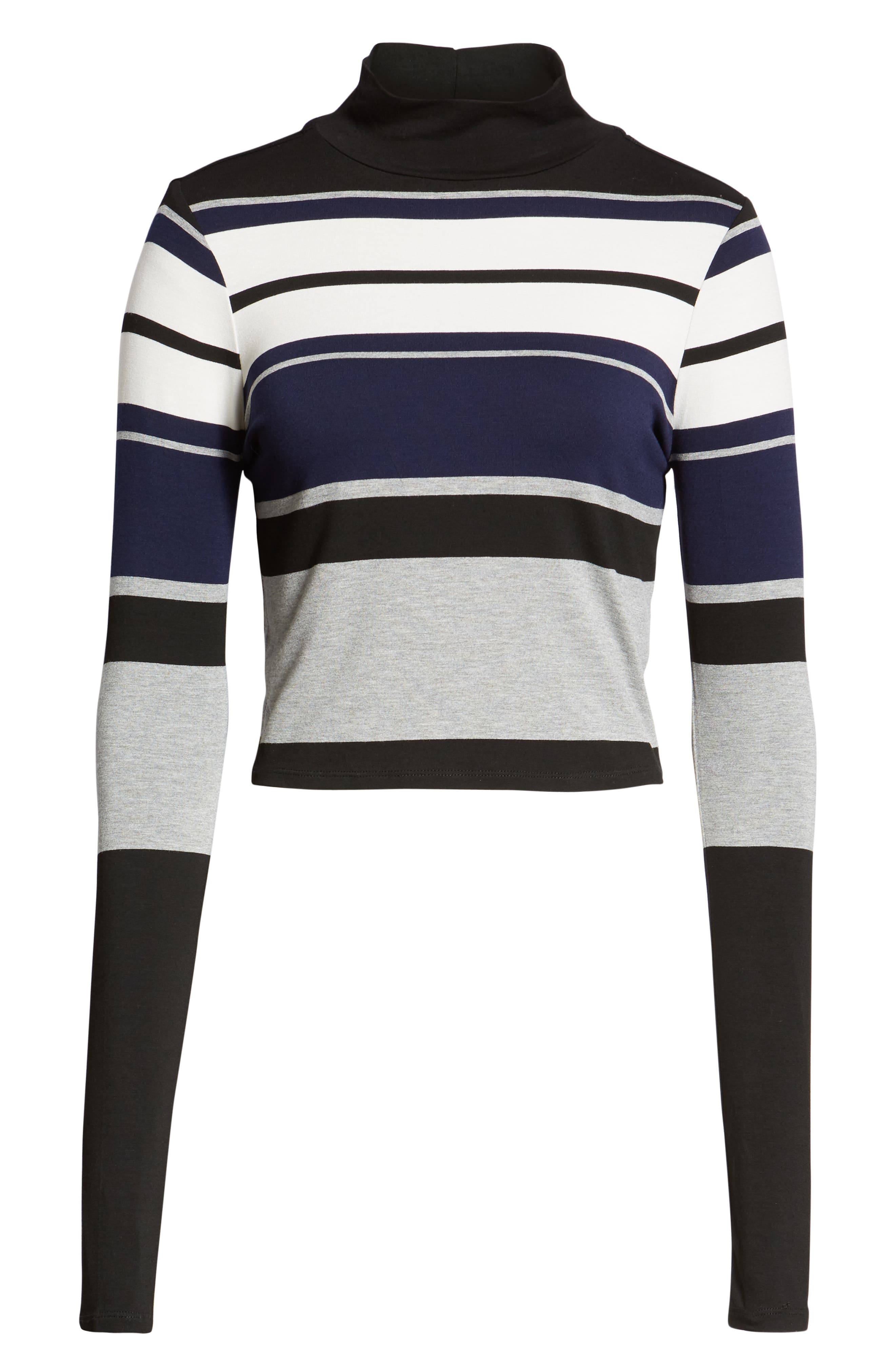 Stripe Mock Neck Tee,                             Alternate thumbnail 6, color,                             BLACK/ WHITE/ GREY
