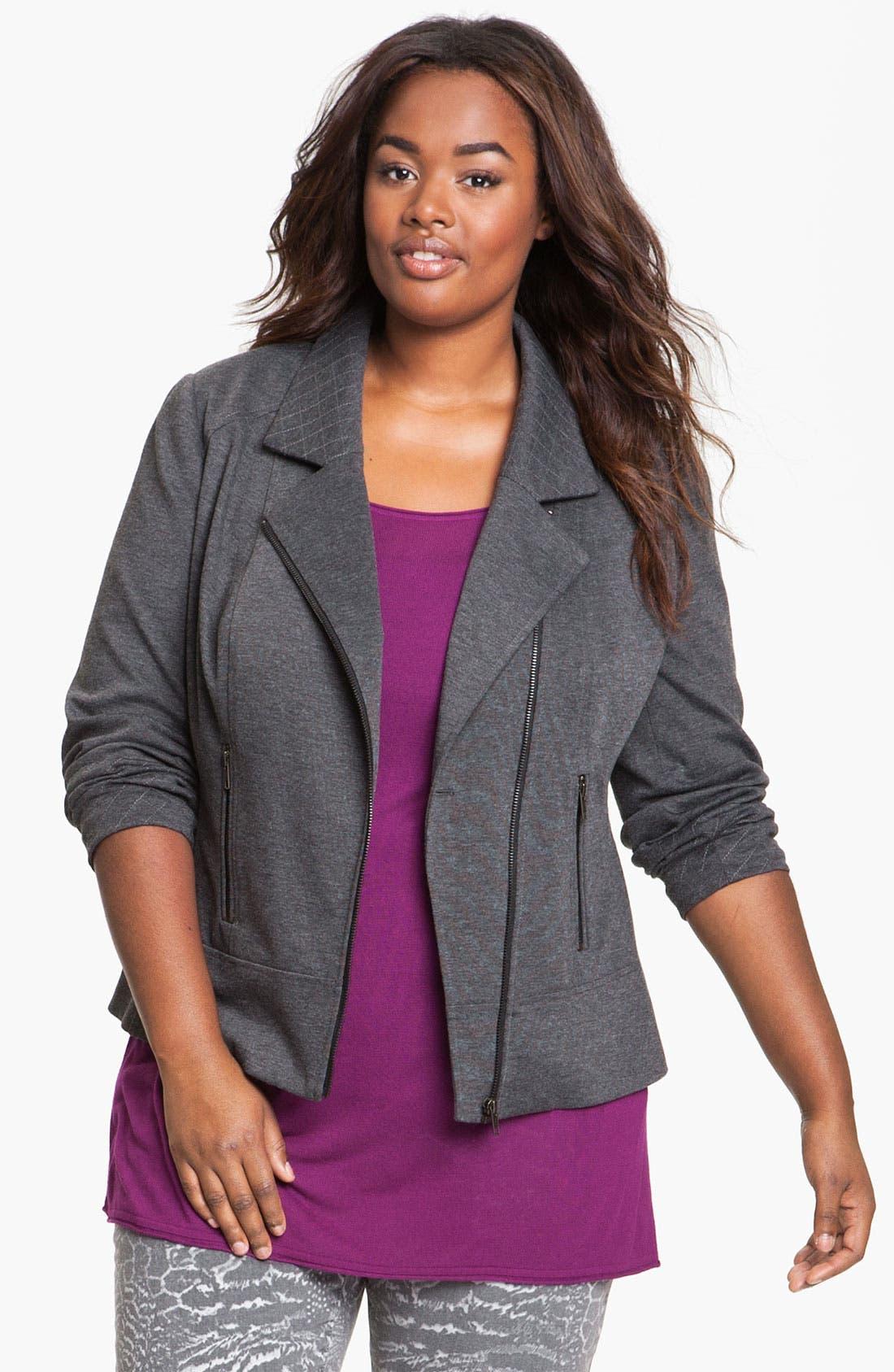 Quilt Trim Ponte Knit Jacket,                         Main,                         color, 020
