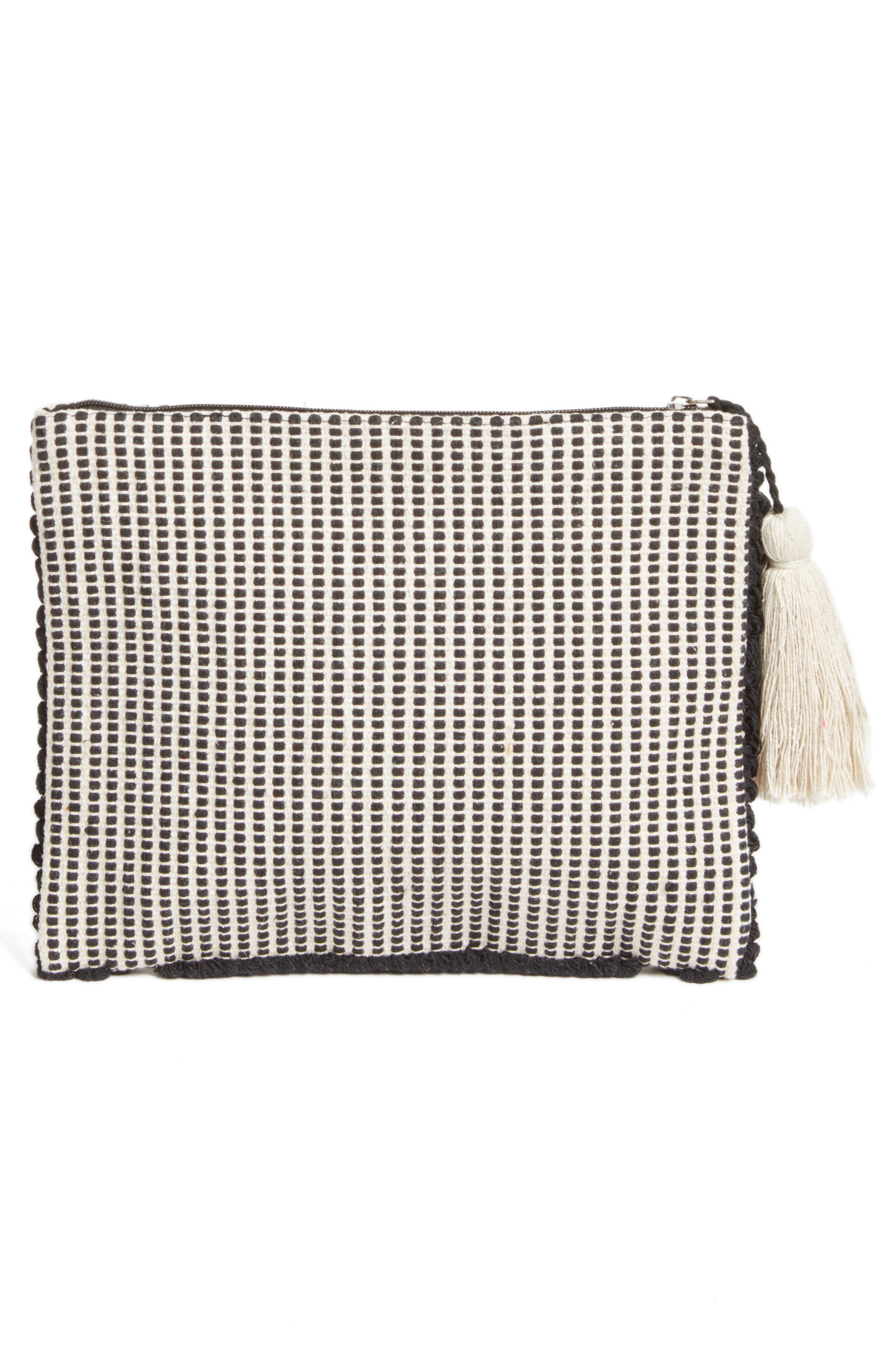 Palisades Tasseled Woven Clutch,                             Alternate thumbnail 17, color,