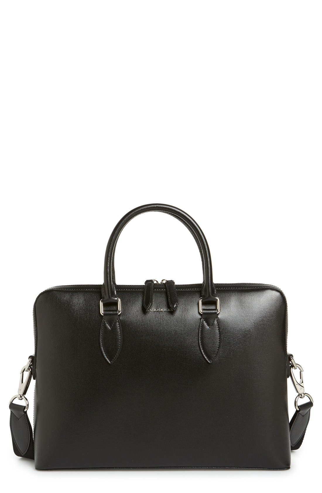 'New London' Calfskin Leather Briefcase,                             Main thumbnail 1, color,                             BLACK