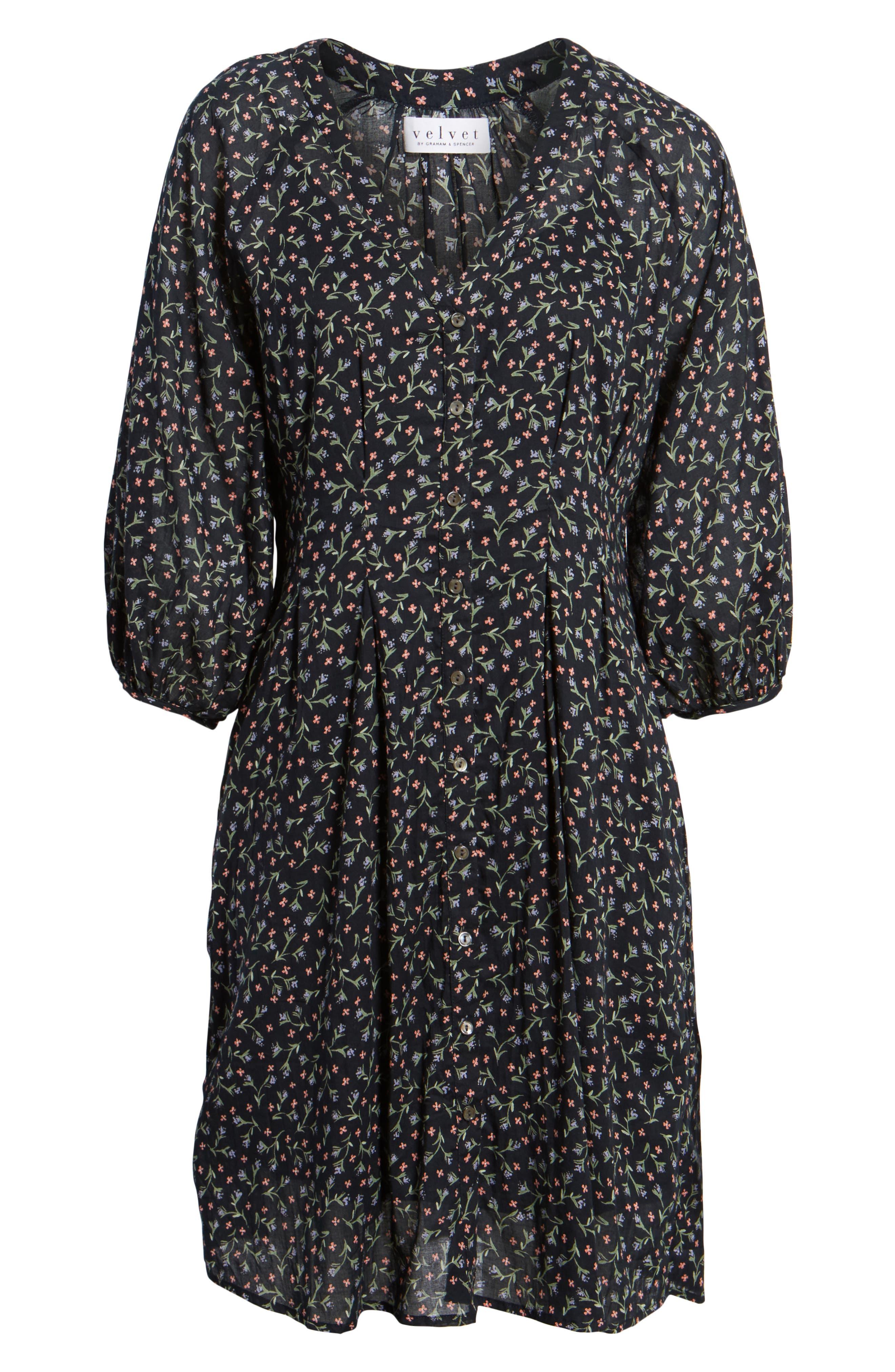 Printed Cotton Voile Dress,                             Alternate thumbnail 6, color,                             005