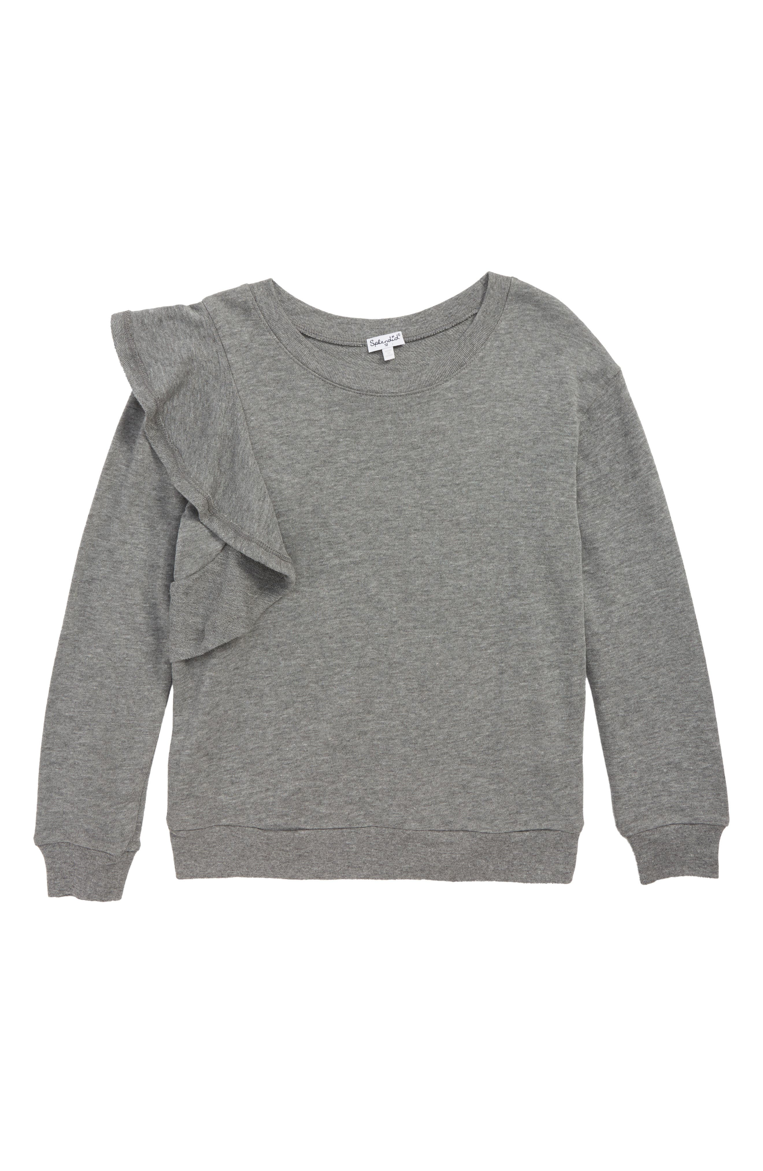 Ruffle Sweatshirt,                         Main,                         color, 020