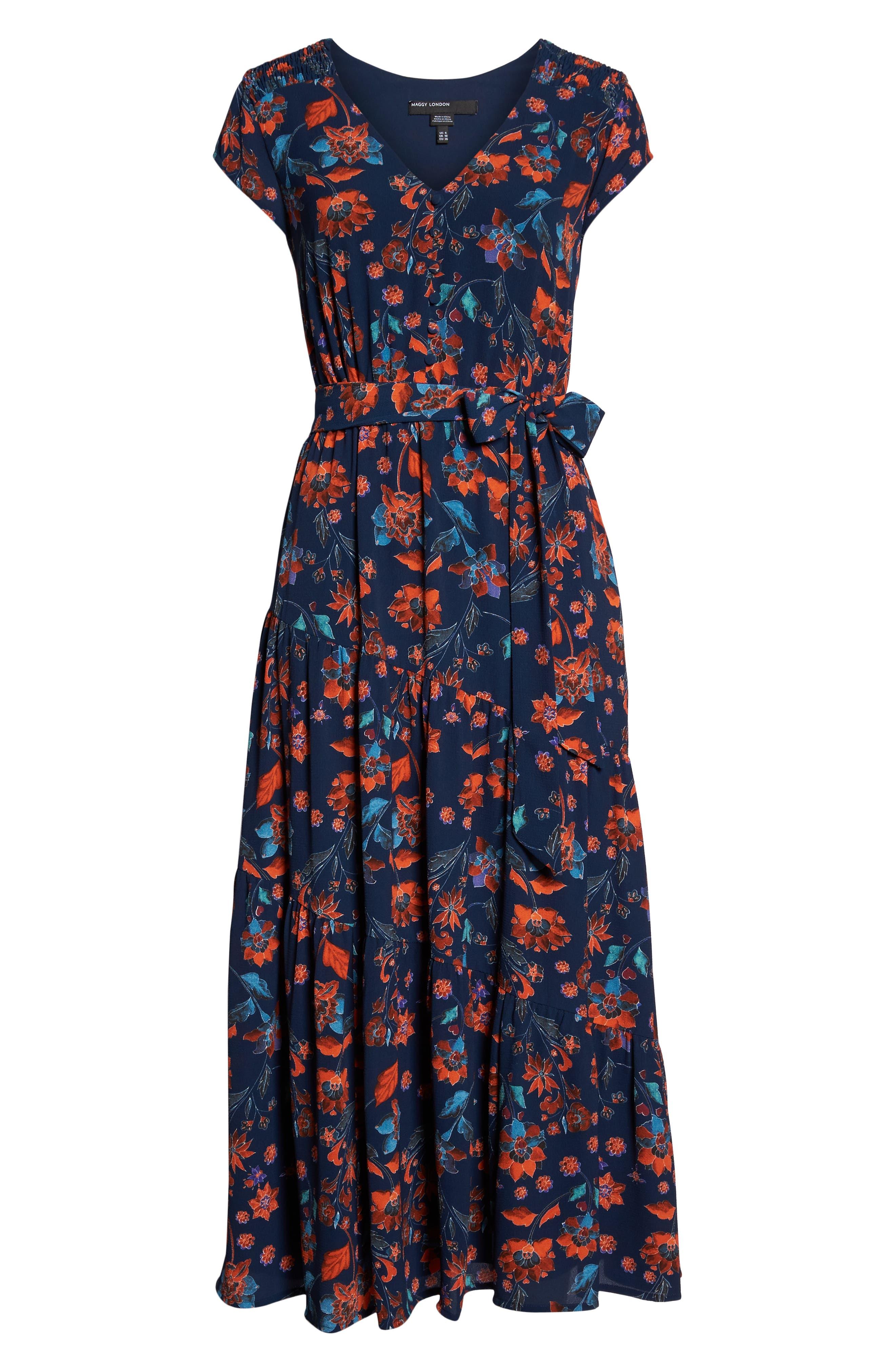 Smock Shoulder Floral Crepe Midi Dress,                             Alternate thumbnail 7, color,                             NAVY/ RED