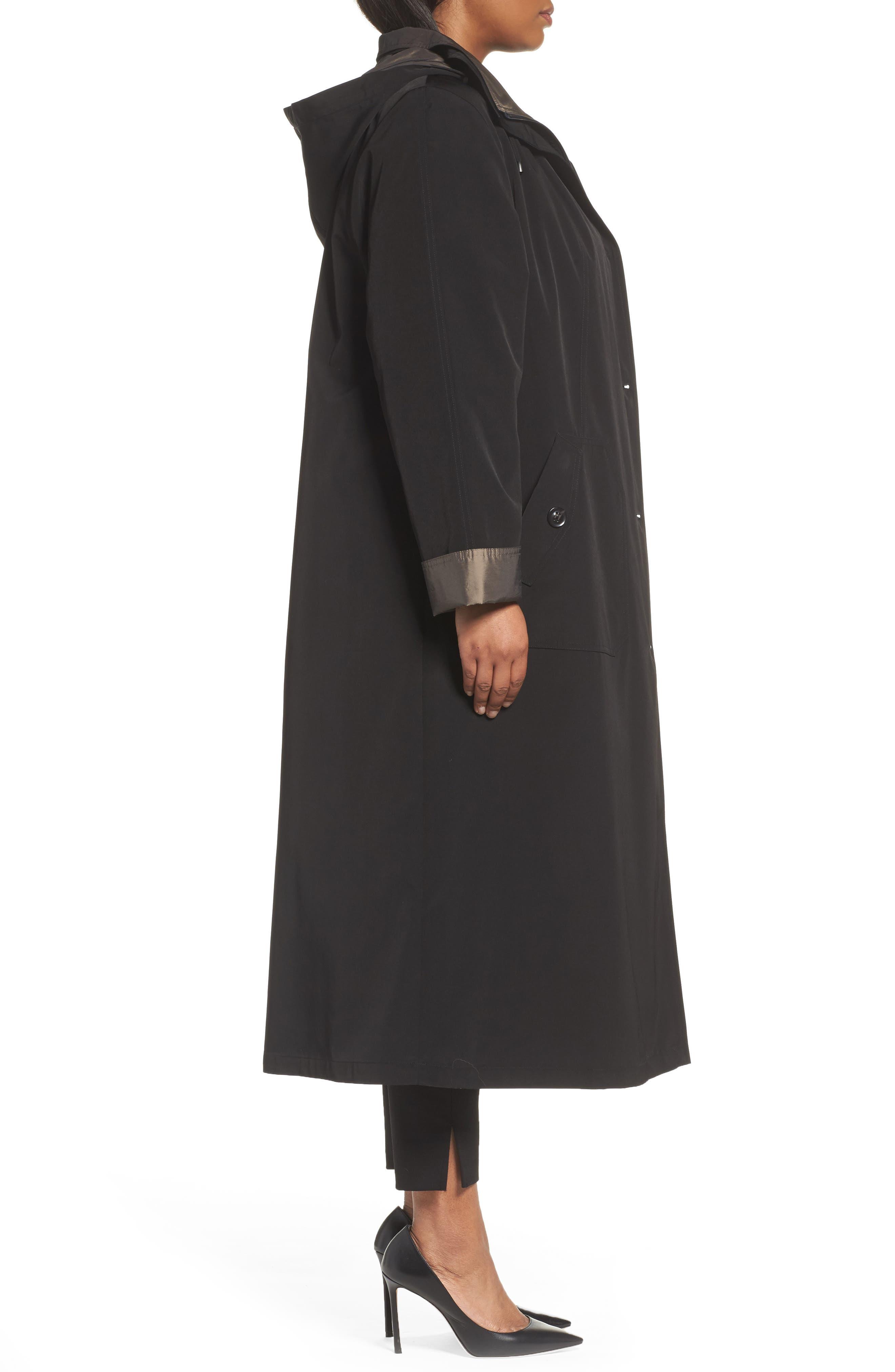 Long Raincoat with Detachable Hood & Liner,                             Alternate thumbnail 3, color,                             BLACK