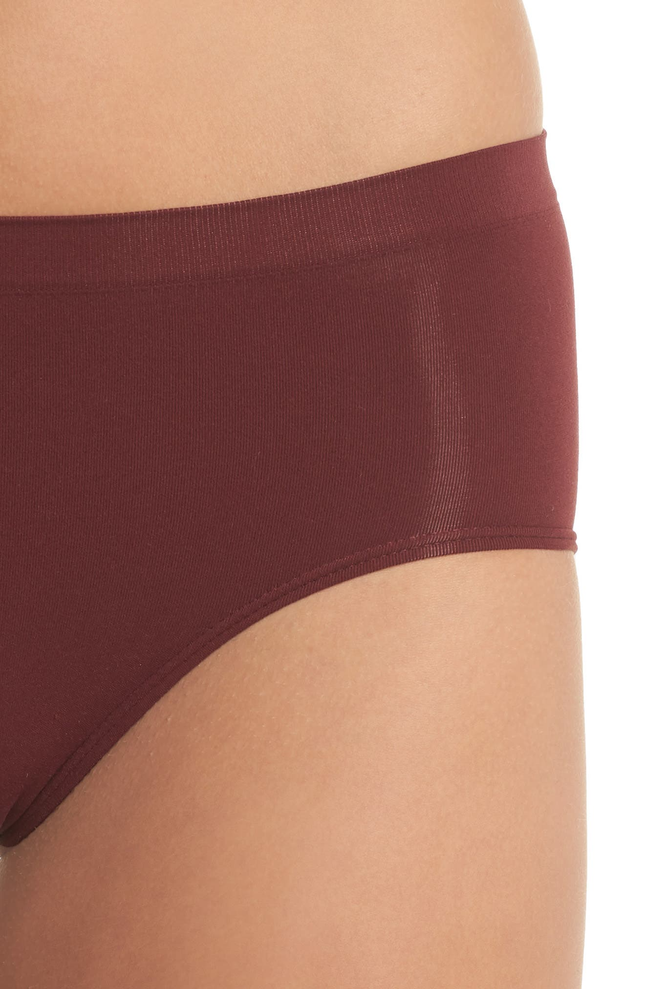 Seamless Hipster Briefs,                             Alternate thumbnail 4, color,                             RED TANNIN
