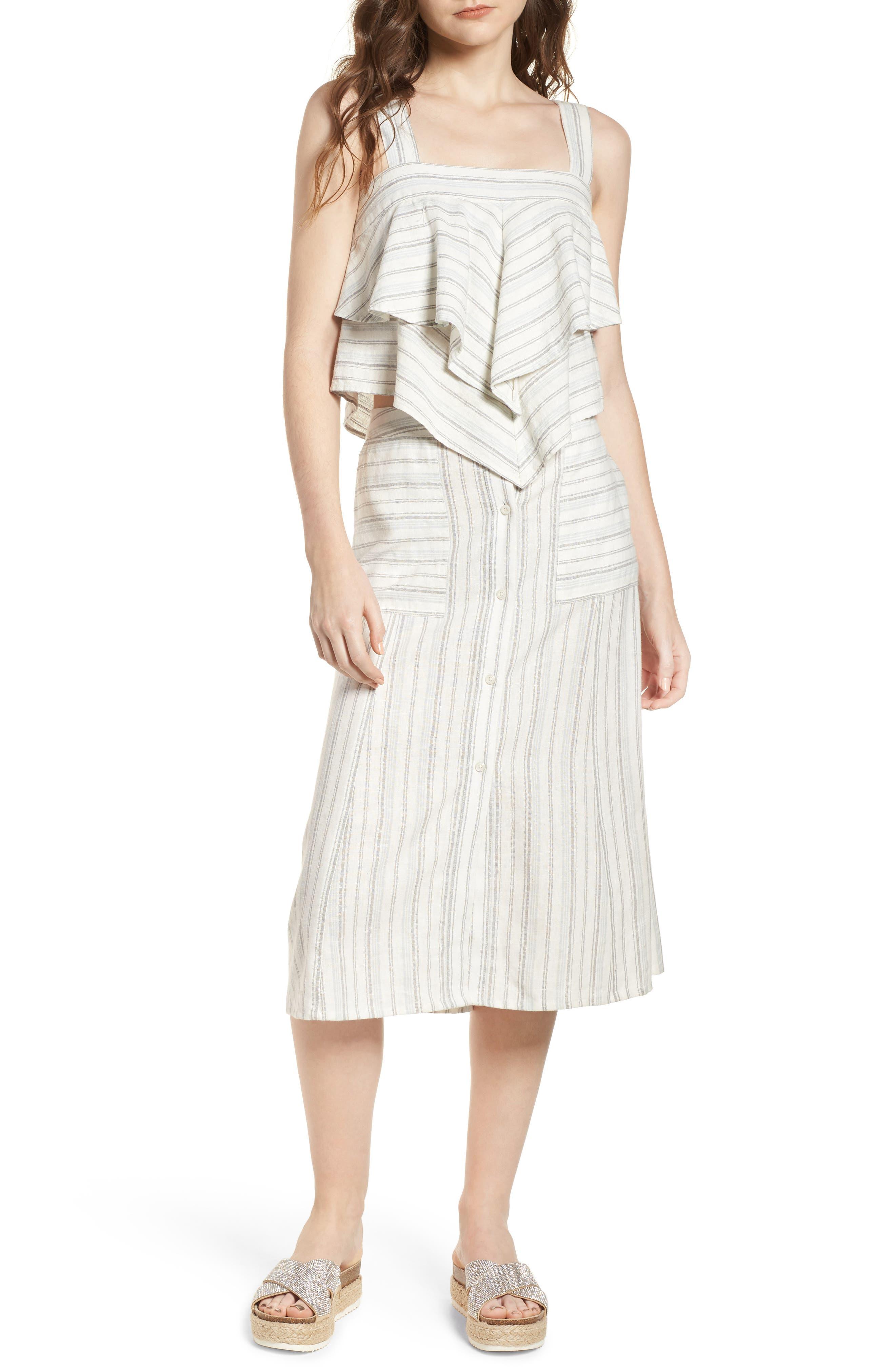 Stripe Linen Blend Midi Skirt,                             Alternate thumbnail 7, color,                             IVORY VERIGATED STRIPE