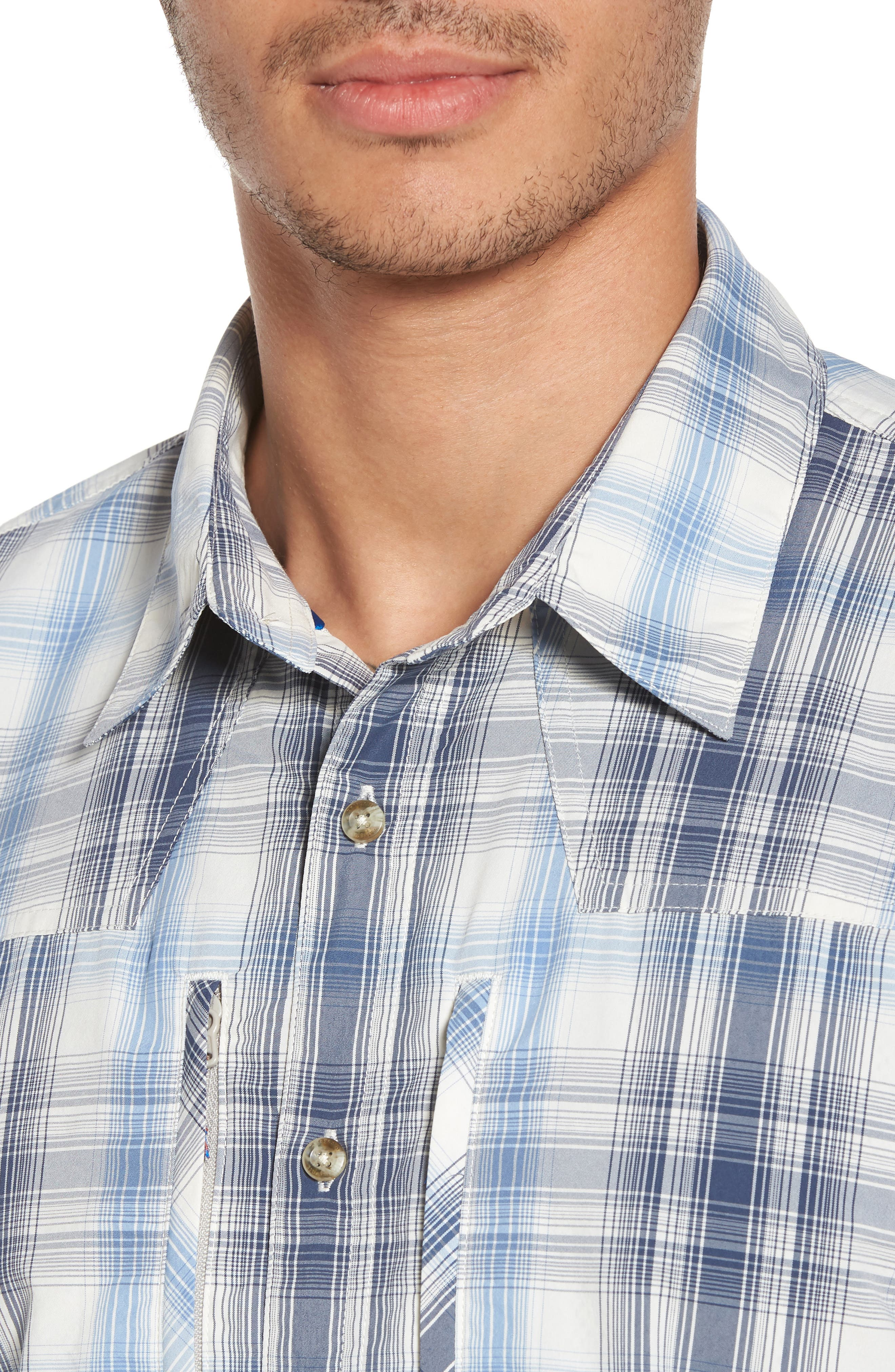 M's Sun Plaid Stretch Hybrid Shirt,                             Alternate thumbnail 4, color,                             KING SWING RADAR BLUE