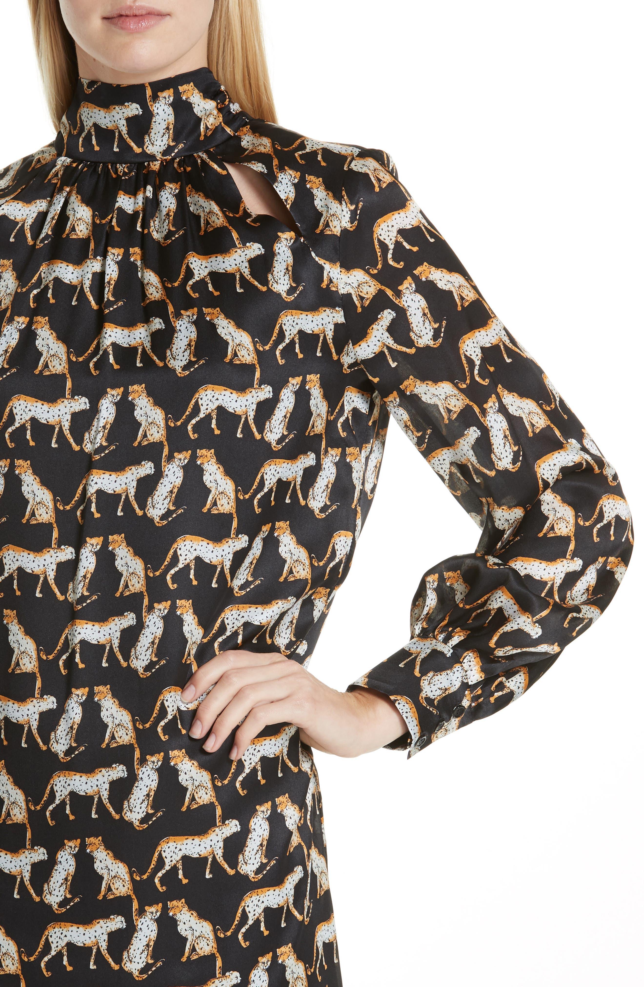 MILLY,                             Cheetah Print High Neck Silk Dress,                             Alternate thumbnail 4, color,                             001