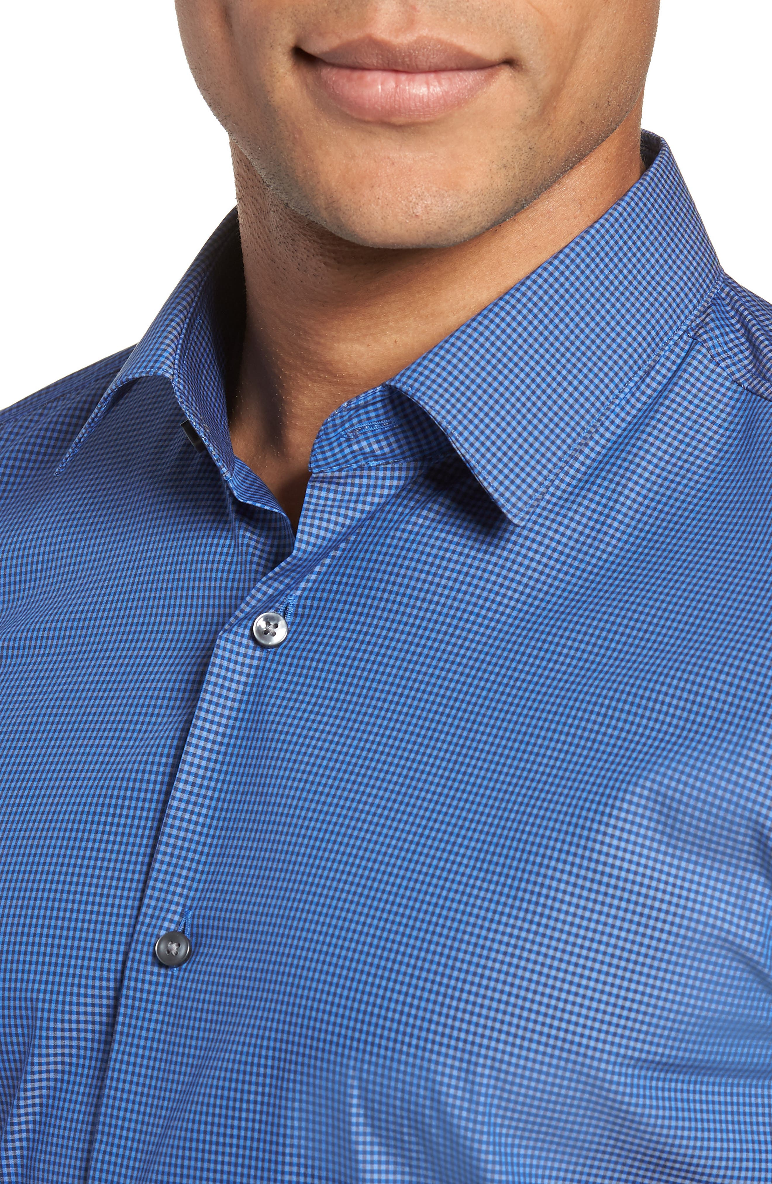 Isko Slim Fit Stretch Check Dress Shirt,                             Alternate thumbnail 2, color,                             BLUE