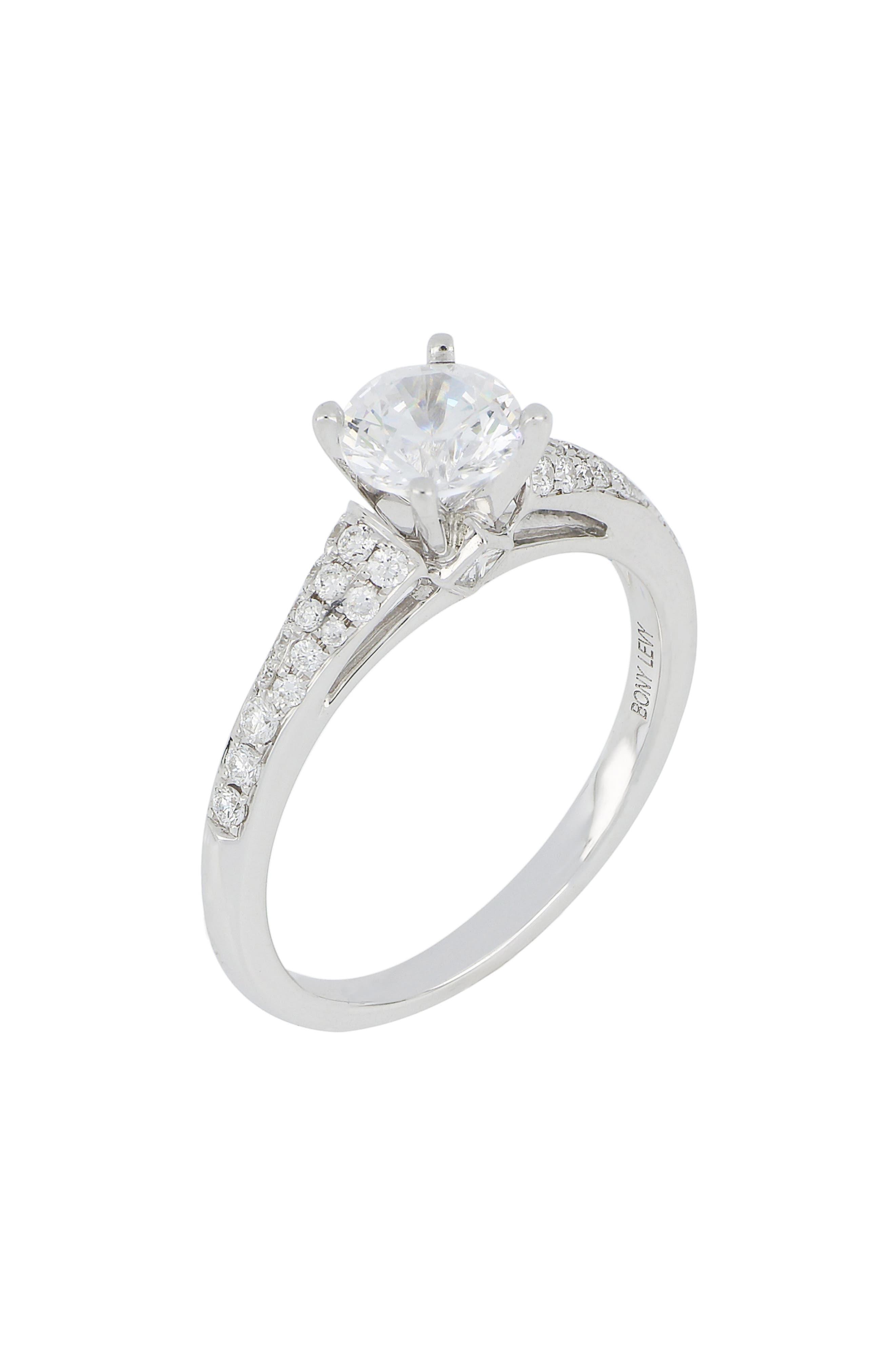 Pavé Diamond & Cubic Zirconia Four Prong Solitaire Ring,                             Main thumbnail 1, color,                             WHITE GOLD