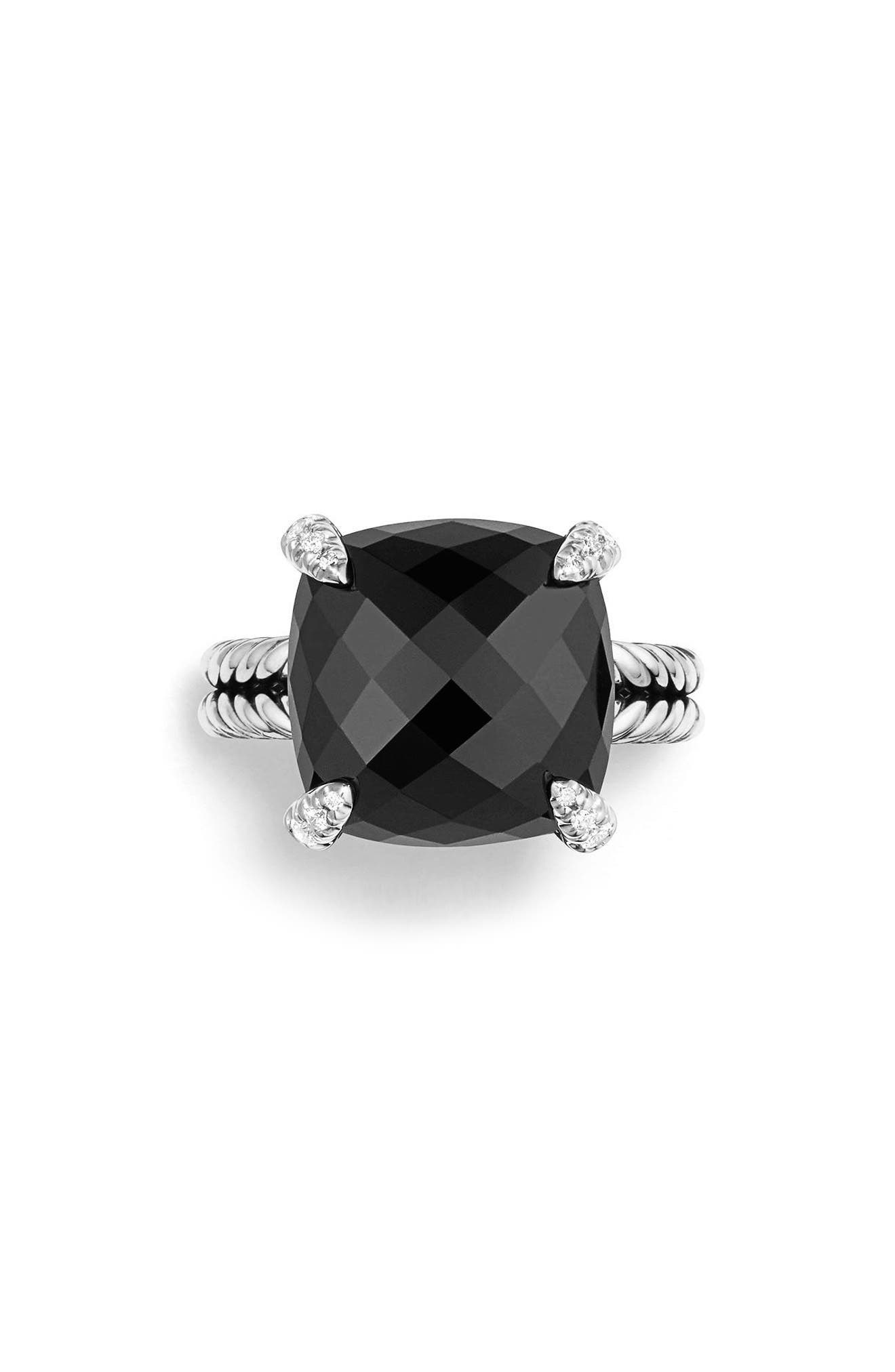 Châtelaine Ring with Semiprecious Stone & Diamonds,                             Alternate thumbnail 3, color,                             BLACK ONYX