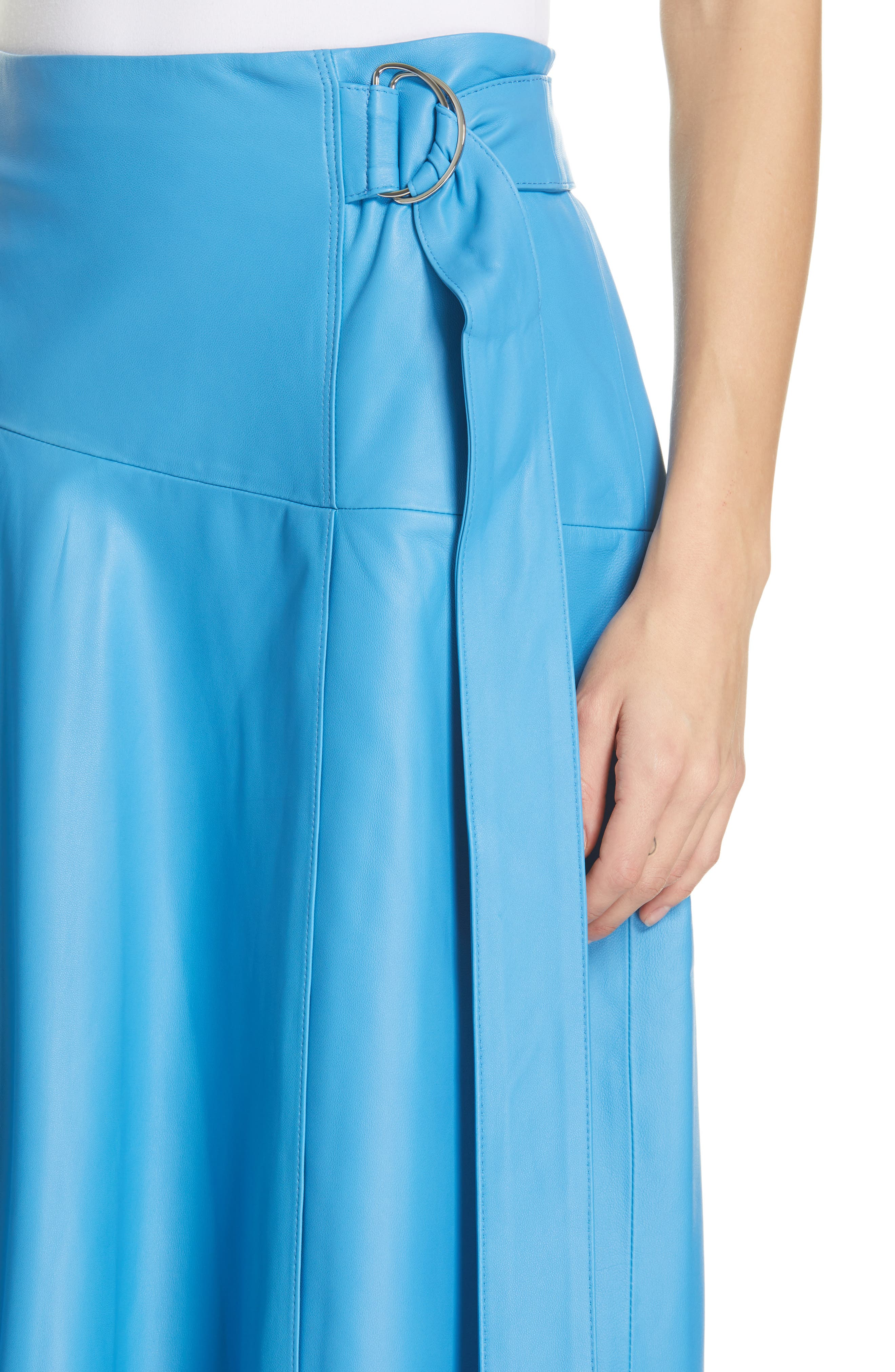 TIBI,                             Asymmetrical Drape Tissue Leather Skirt,                             Alternate thumbnail 4, color,                             OCEAN BLUE