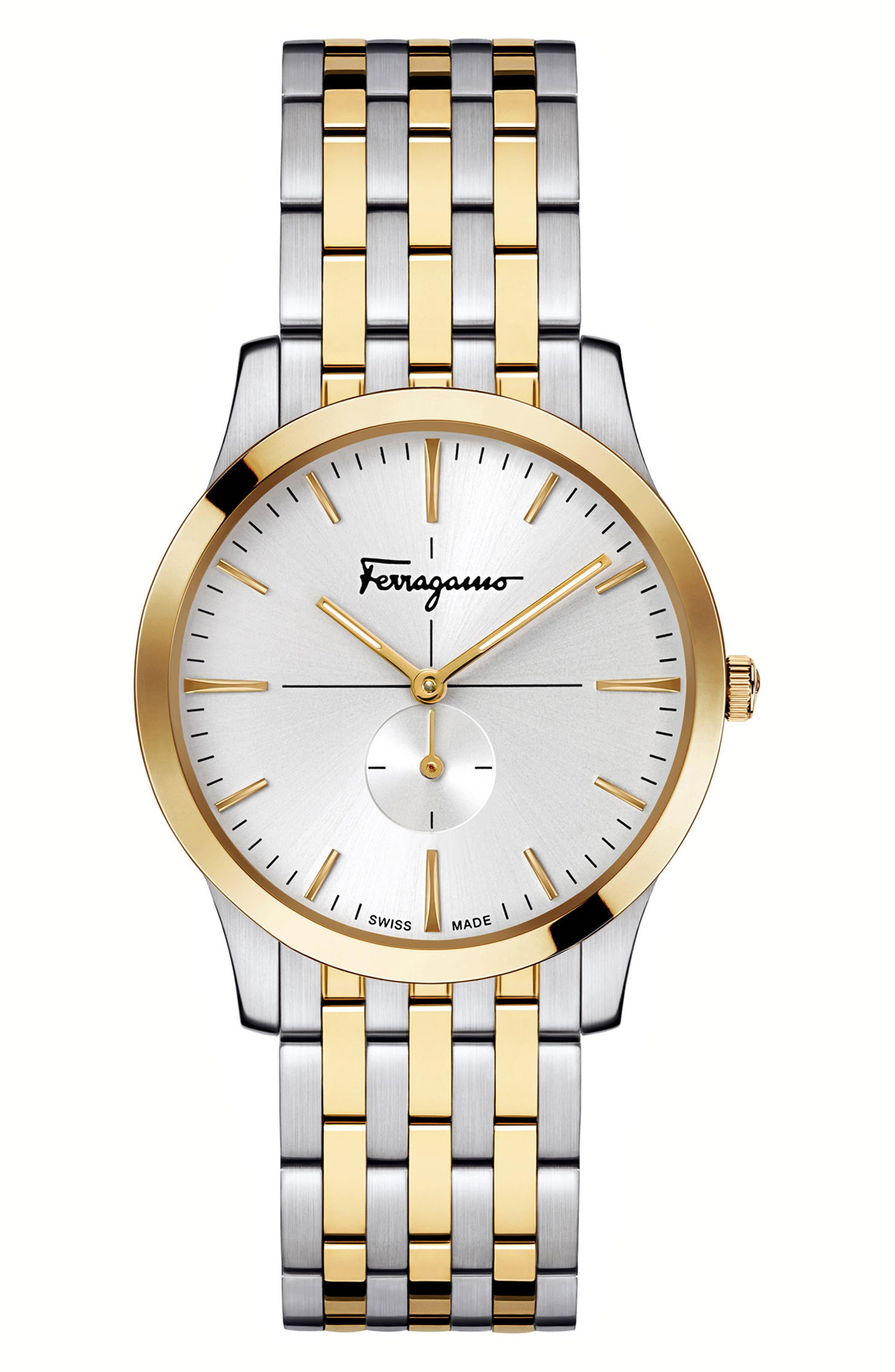 Slim Formal Bracelet Watch, 35mm,                         Main,                         color, SILVER/ WHITE/ GOLD