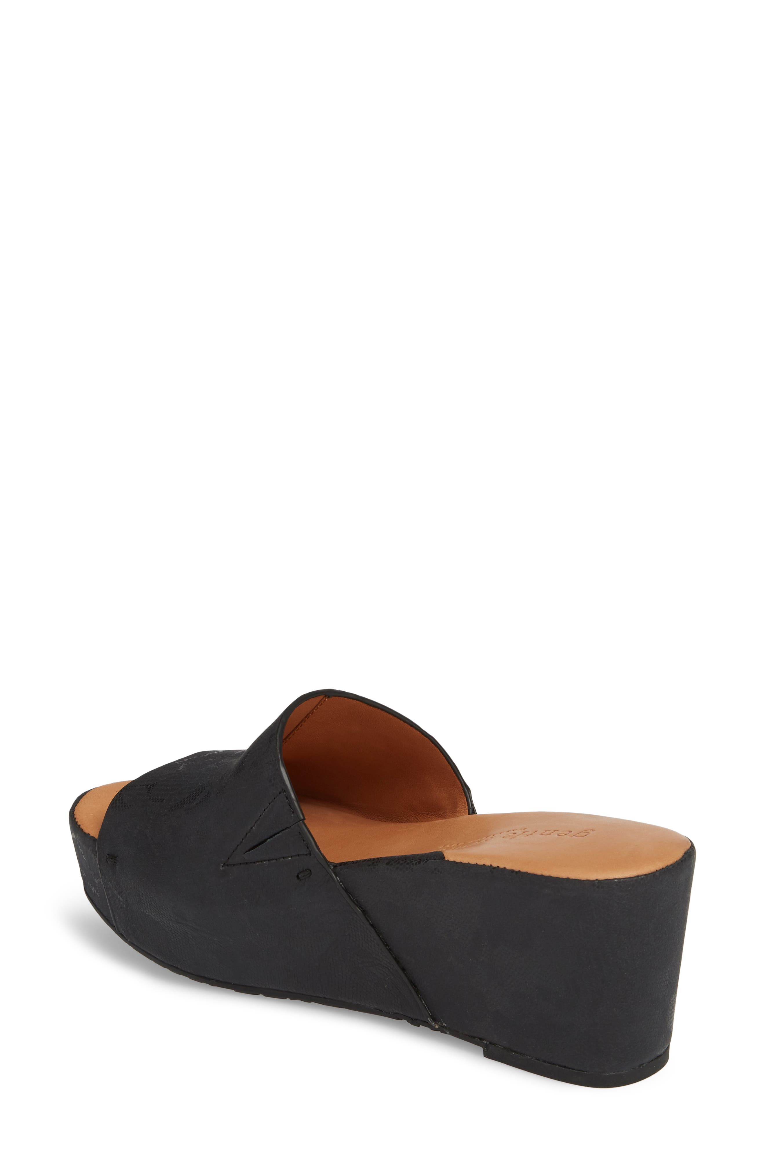 by Kenneth Cole Forella Slide Sandal,                             Alternate thumbnail 2, color,                             BLACK PRINTED LEATHER