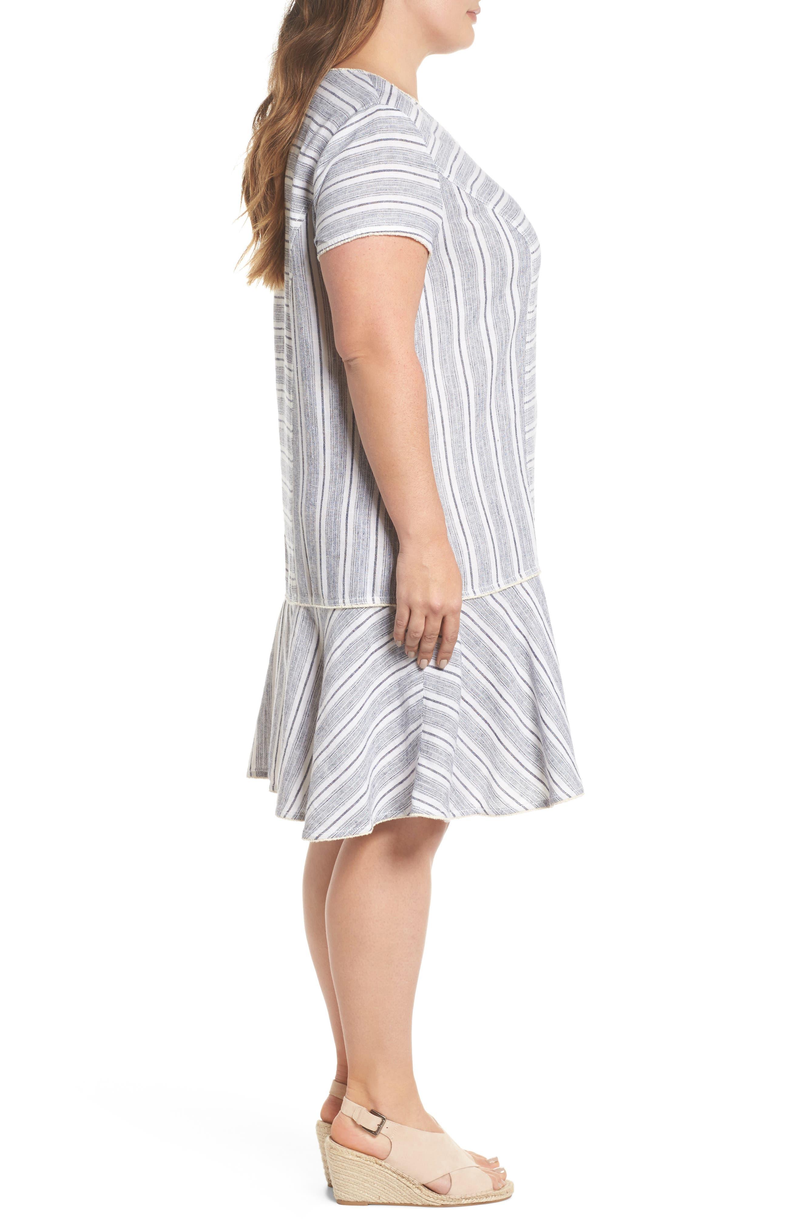 Raw Edge Stripe Linen Blend Dress,                             Alternate thumbnail 3, color,                             900