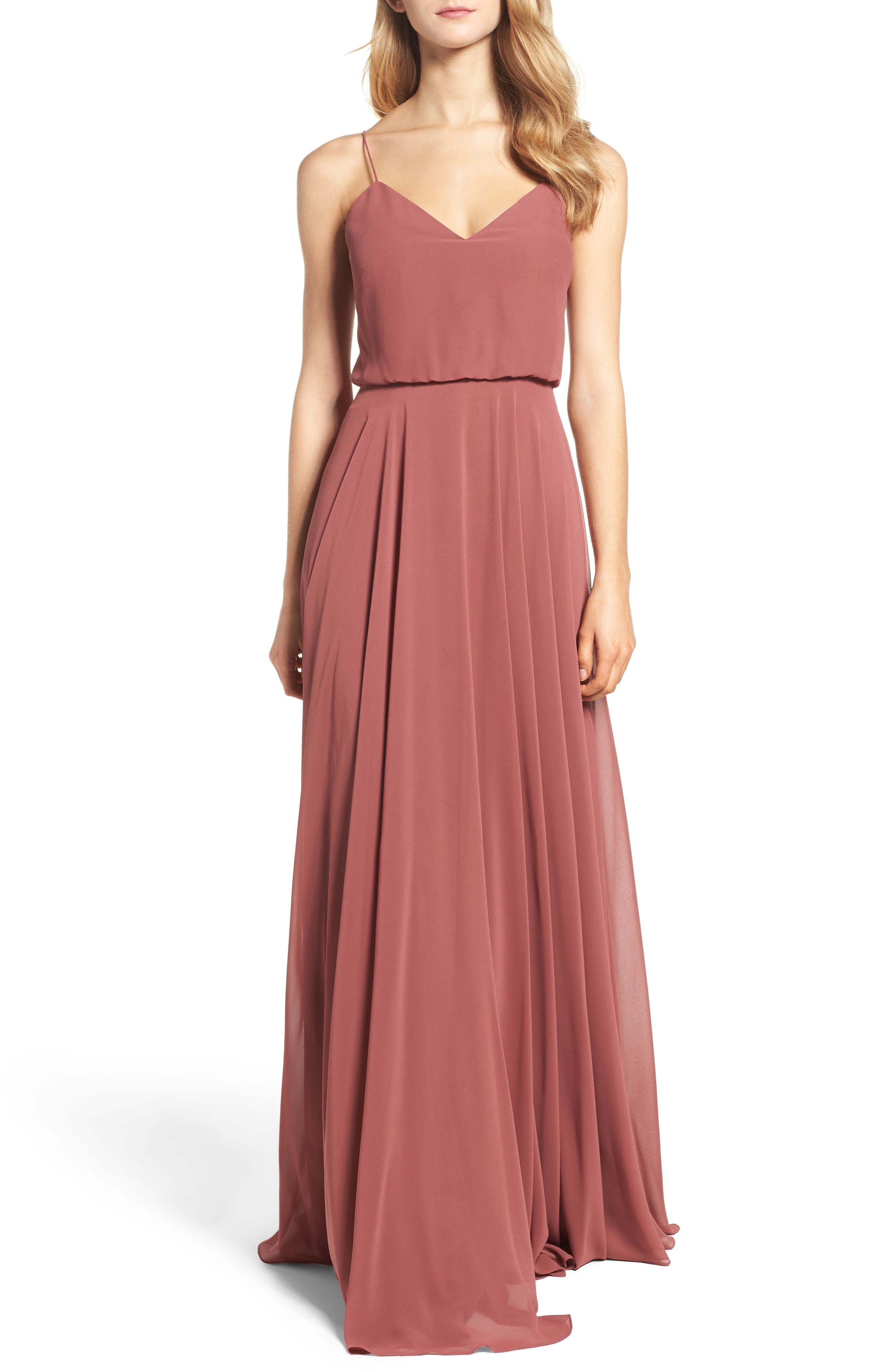 Inesse Chiffon V-Neck Spaghetti Strap Gown in Cinnamon Rose