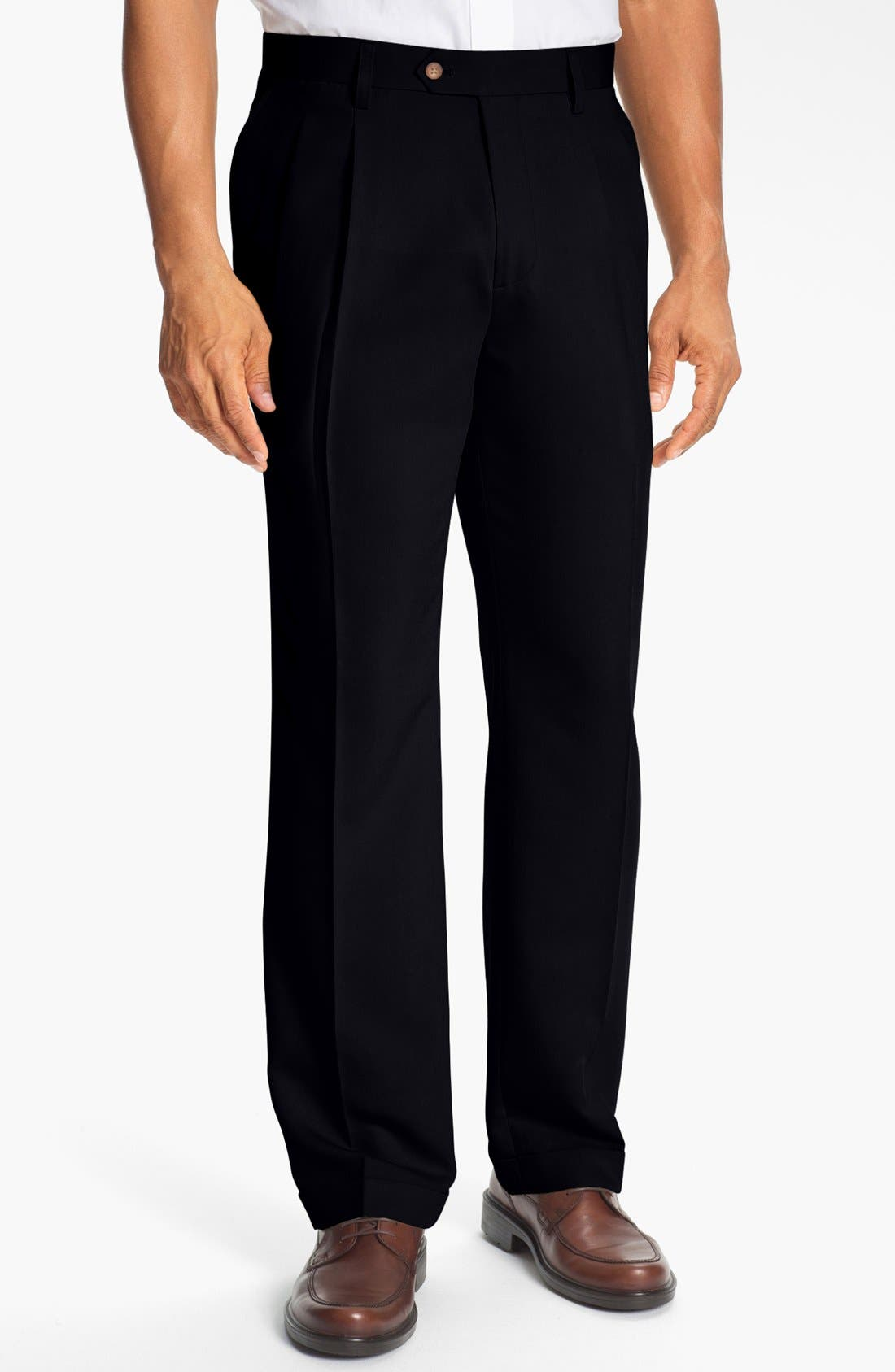 Double Pleated Microfiber Pants,                             Main thumbnail 1, color,                             001