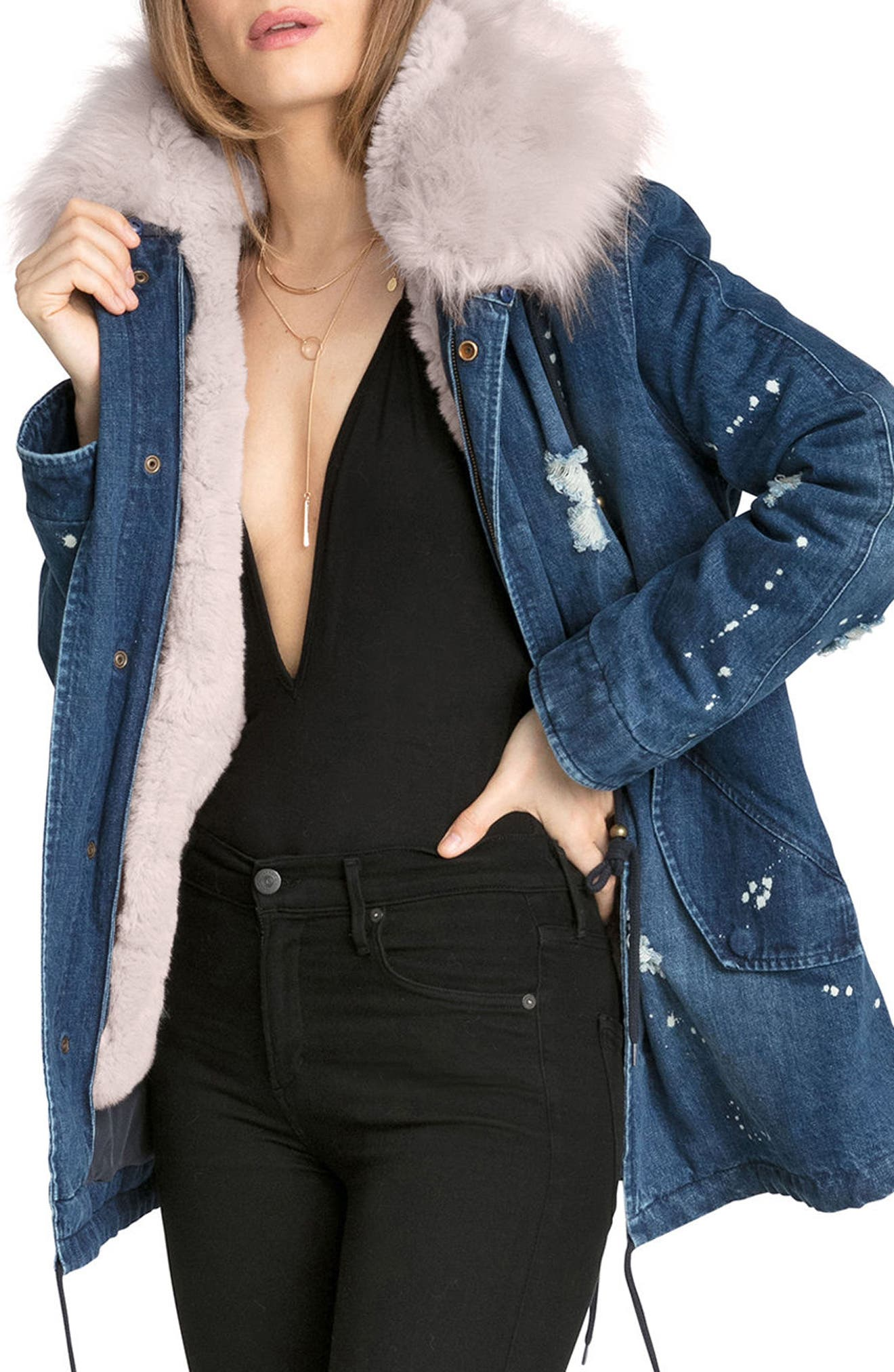 3-in-1 Distressed Denim Parka with Faux Shearling Trim,                             Alternate thumbnail 4, color,