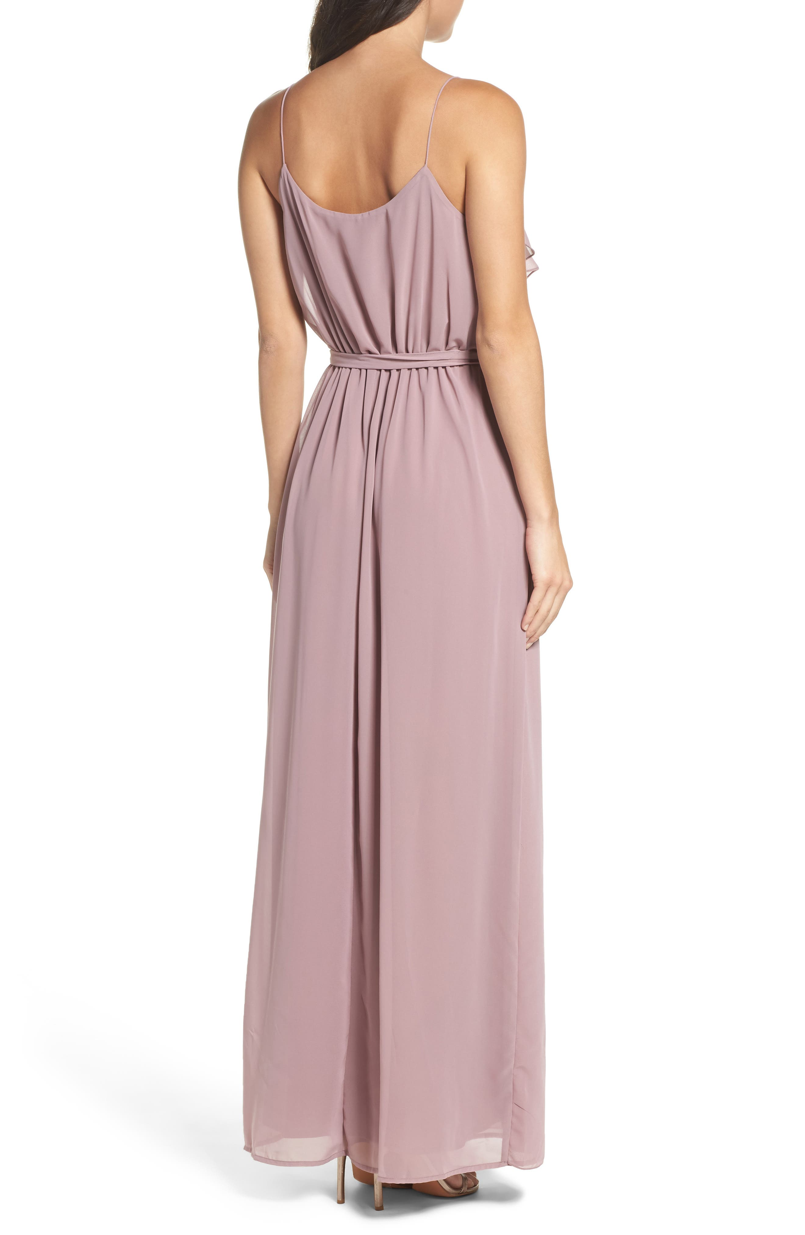 'Drew' Ruffle Front Chiffon Gown,                             Alternate thumbnail 17, color,