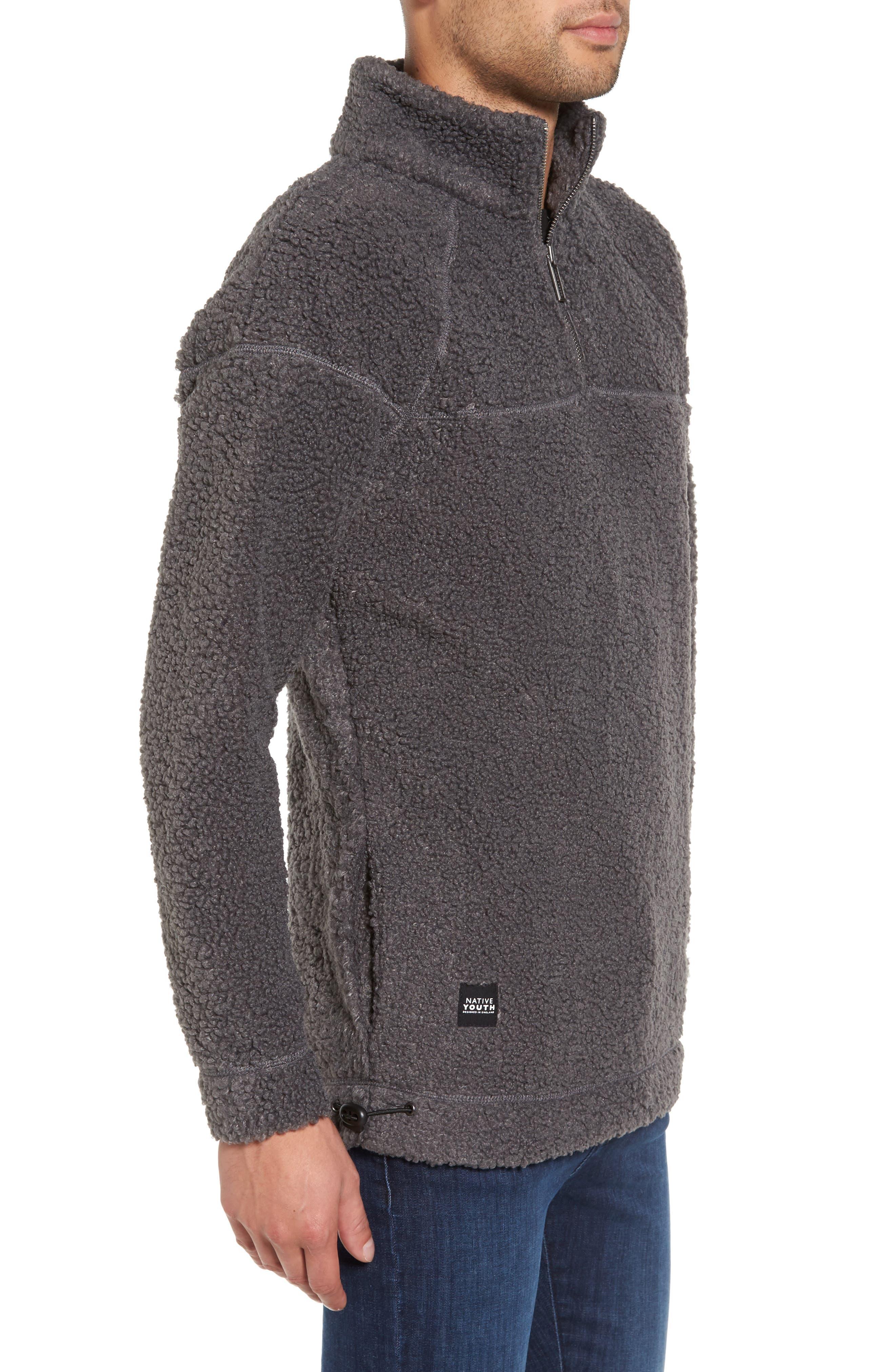 Warlock Faux Shearling Quarter Zip Sweater,                             Alternate thumbnail 3, color,