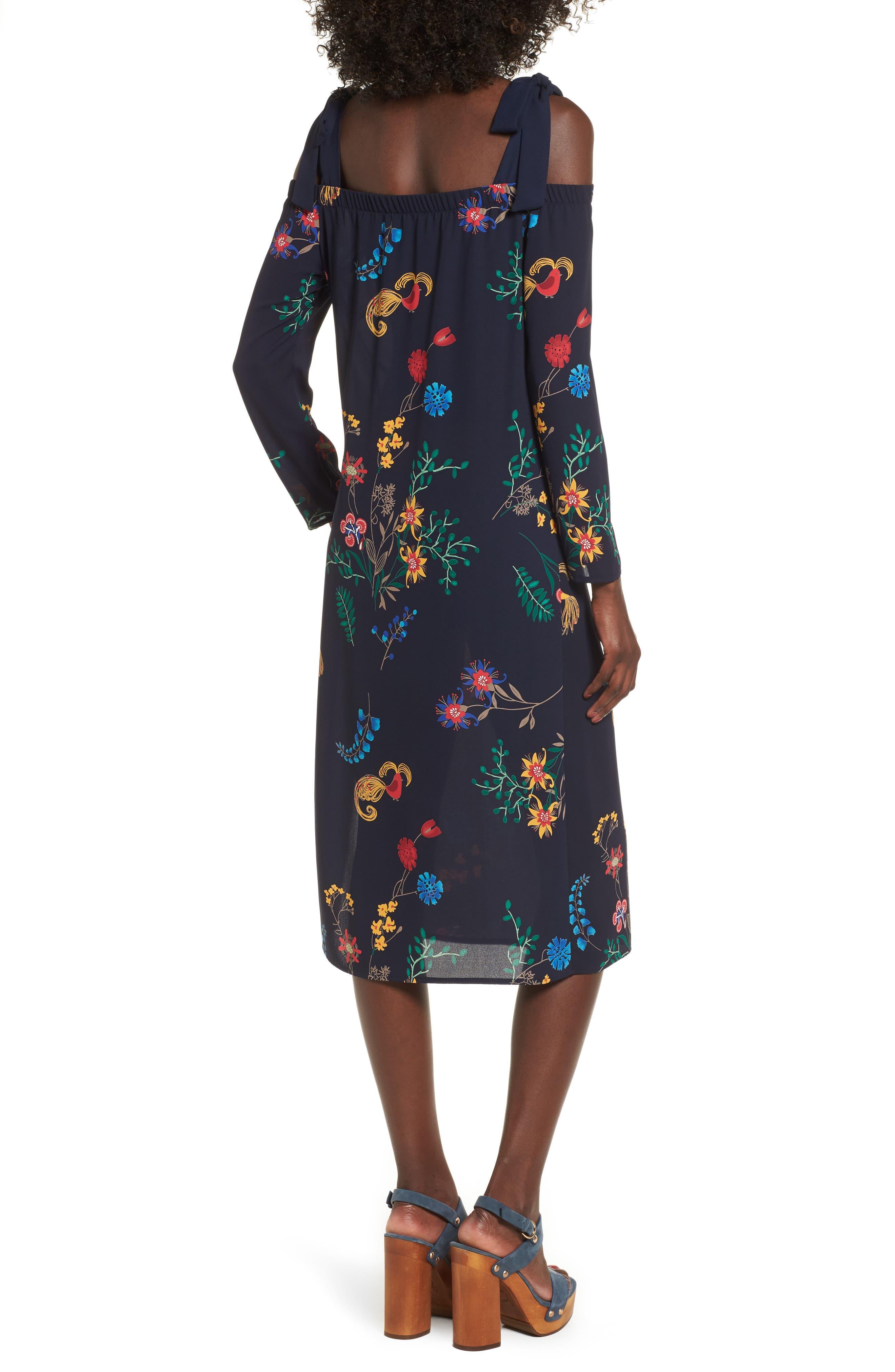 Print Off the Shoulder Midi Dress,                             Alternate thumbnail 2, color,                             410