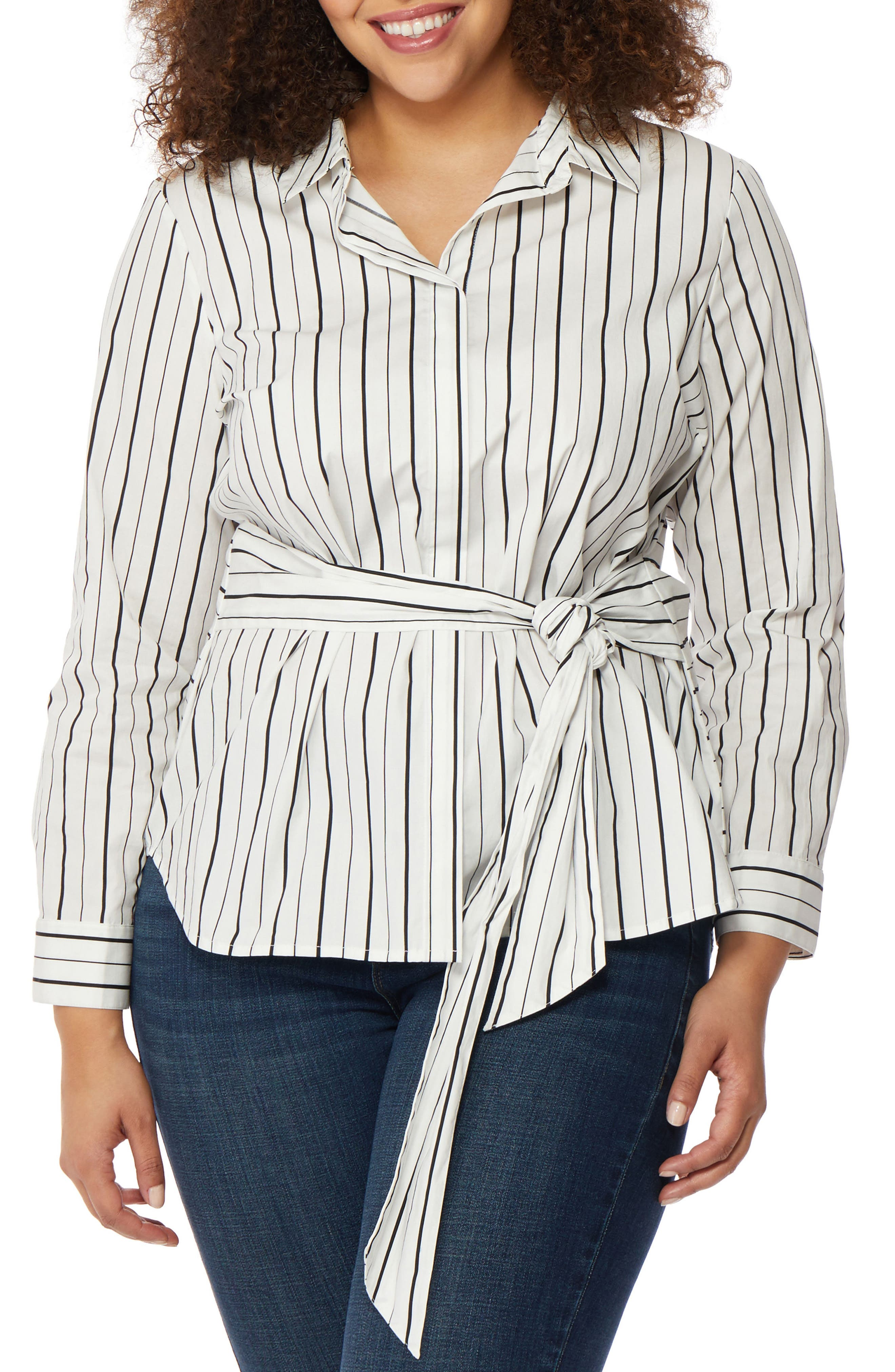 Wrap Tie Stripe Shirt,                         Main,                         color,