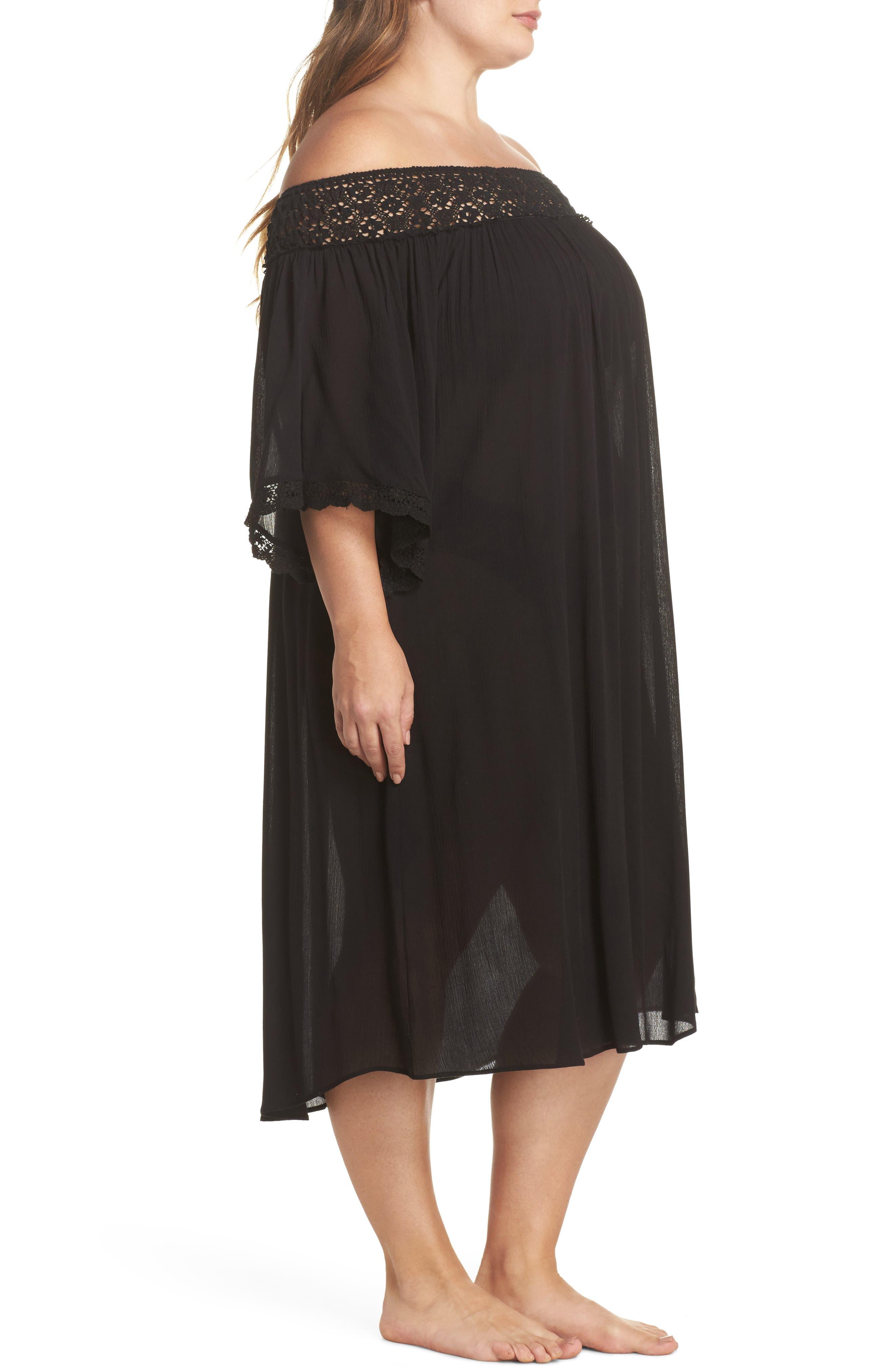 Rimini Crochet Cover-Up Dress,                             Alternate thumbnail 3, color,                             001