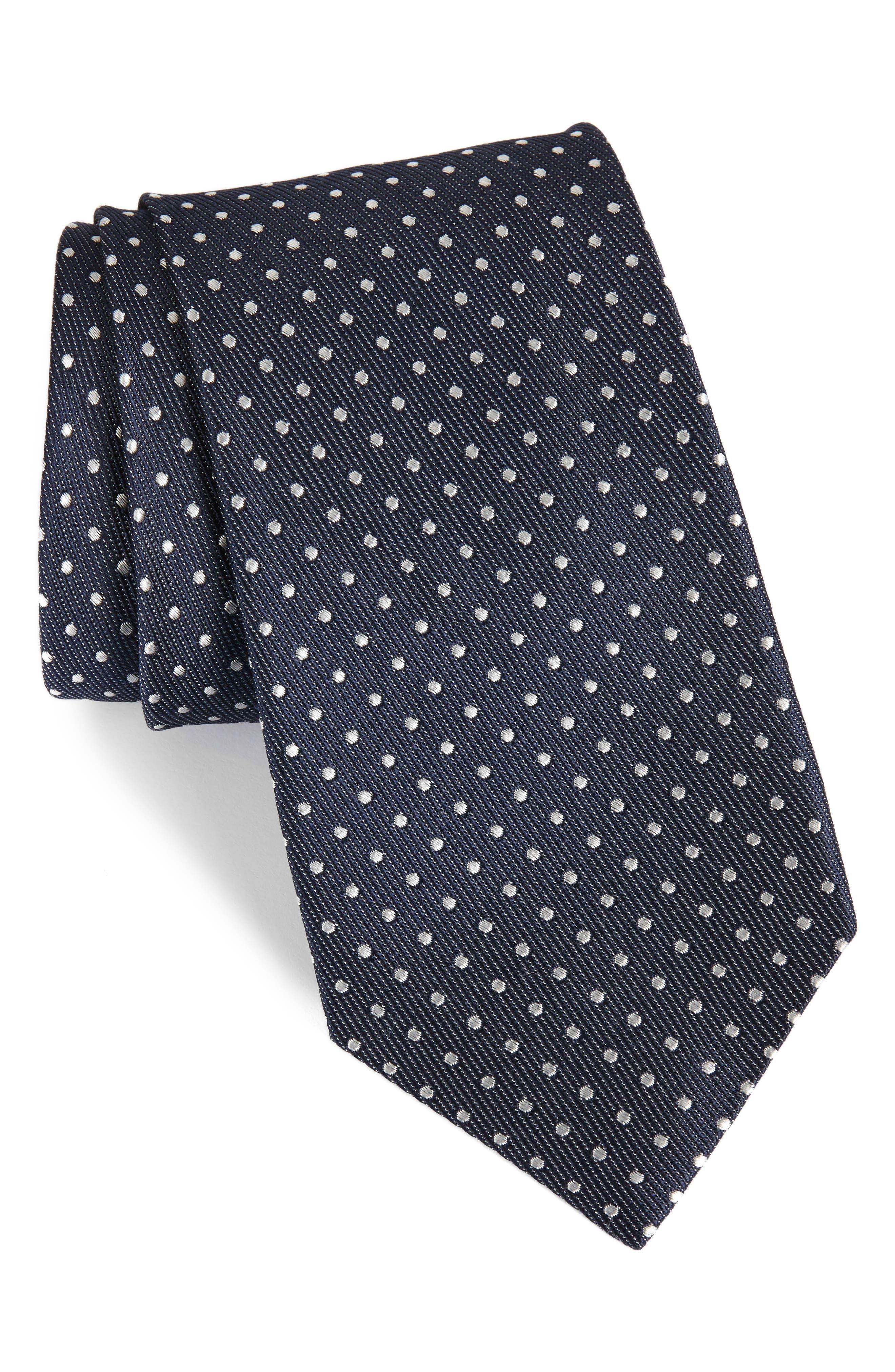 Sturridge Dot Silk Tie,                         Main,                         color, NAVY
