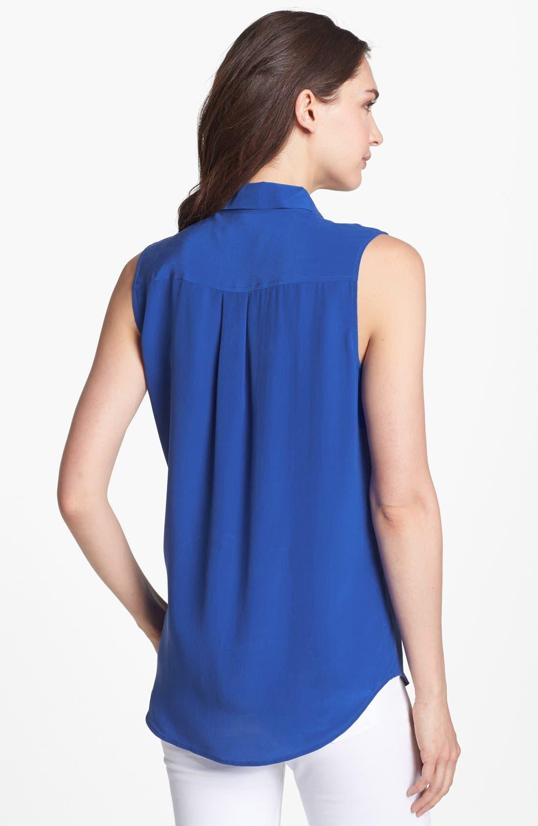 'Slim Signature' Sleeveless Silk Shirt,                             Alternate thumbnail 117, color,