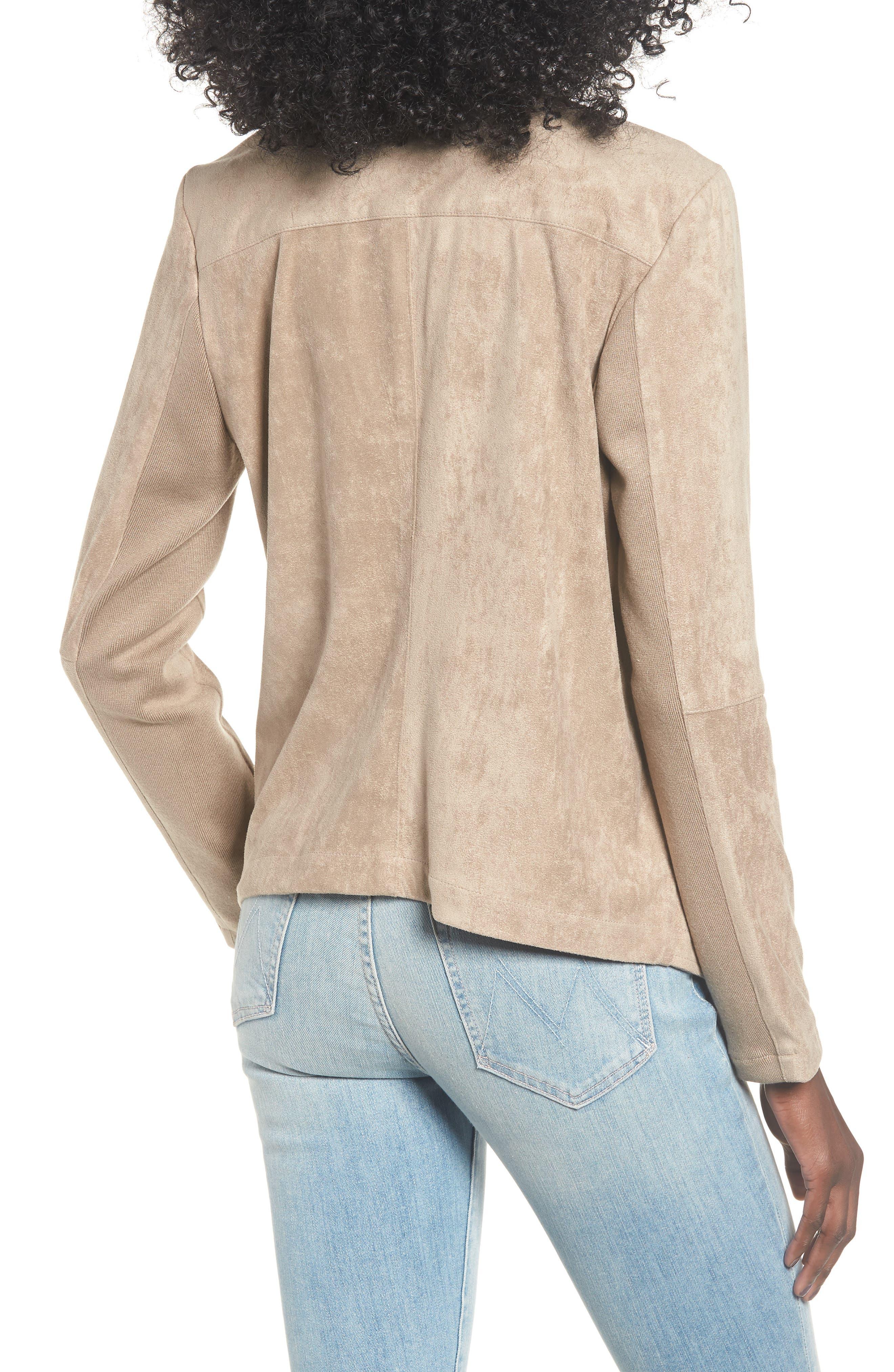 Nicholson Faux Suede Drape Front Jacket,                             Alternate thumbnail 2, color,                             WARM STONE