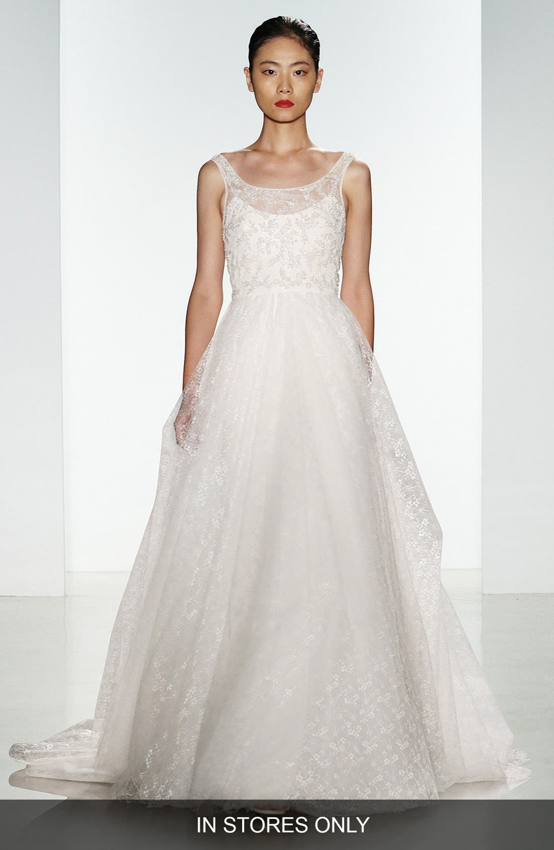 Claire Beaded Chantilly Lace & Floral Tulle Ballgown,                             Main thumbnail 1, color,                             900