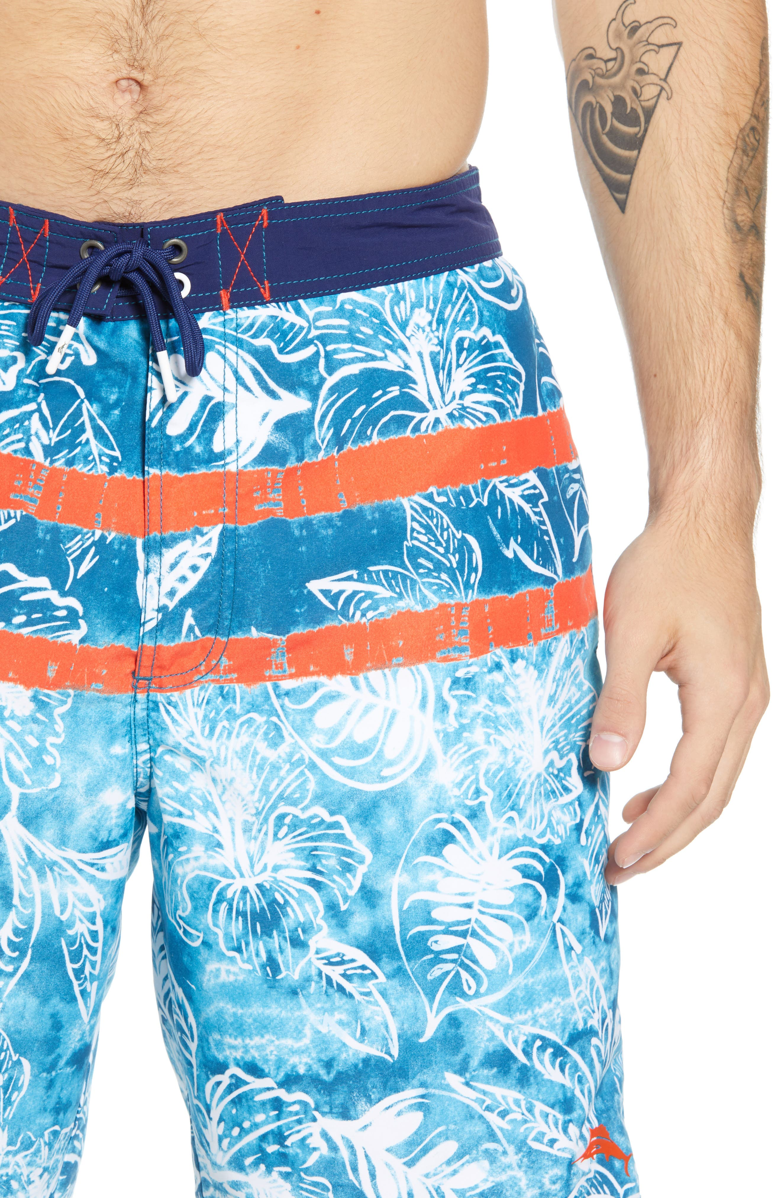 Baja Mar Batik Print Board Shorts,                             Alternate thumbnail 4, color,                             RIVIERA AZURE