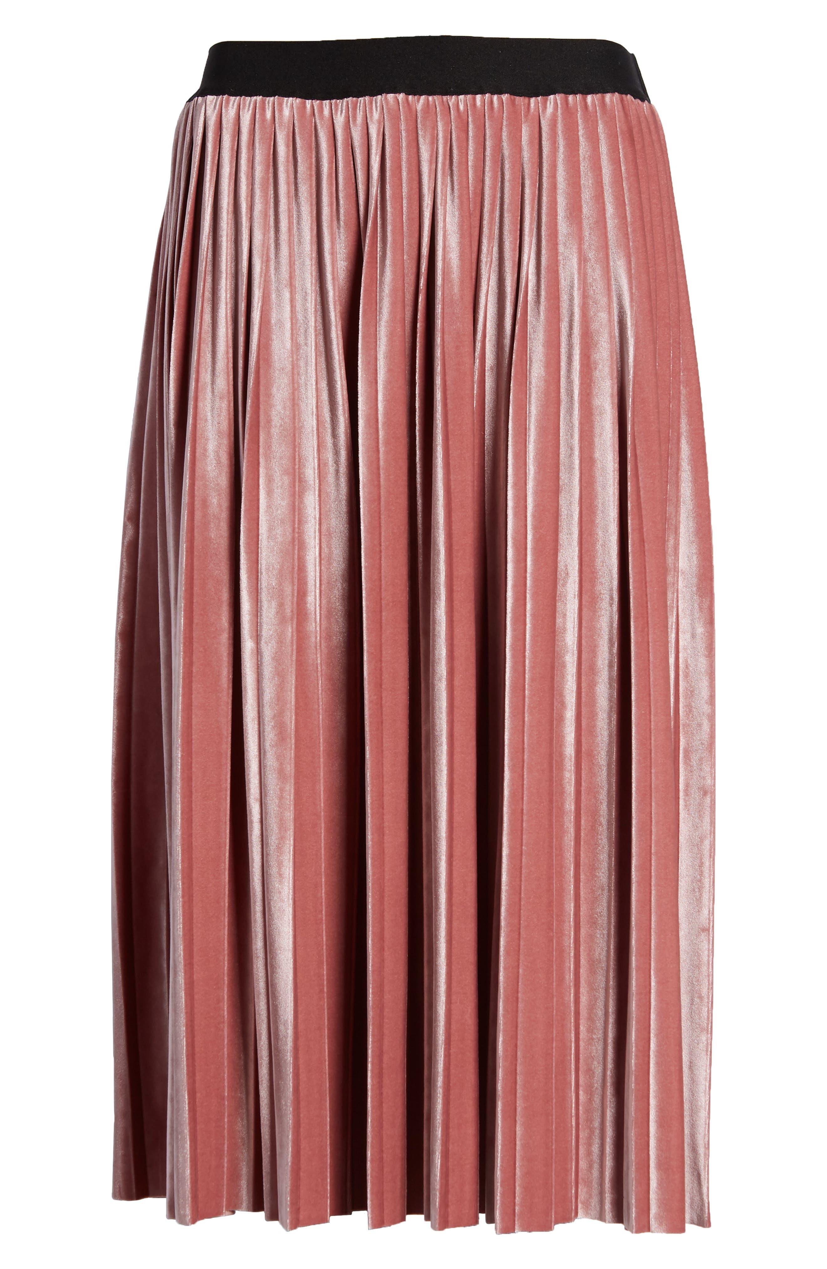 Velvet Pleated Midi Skirt,                             Alternate thumbnail 6, color,                             PINK MESA