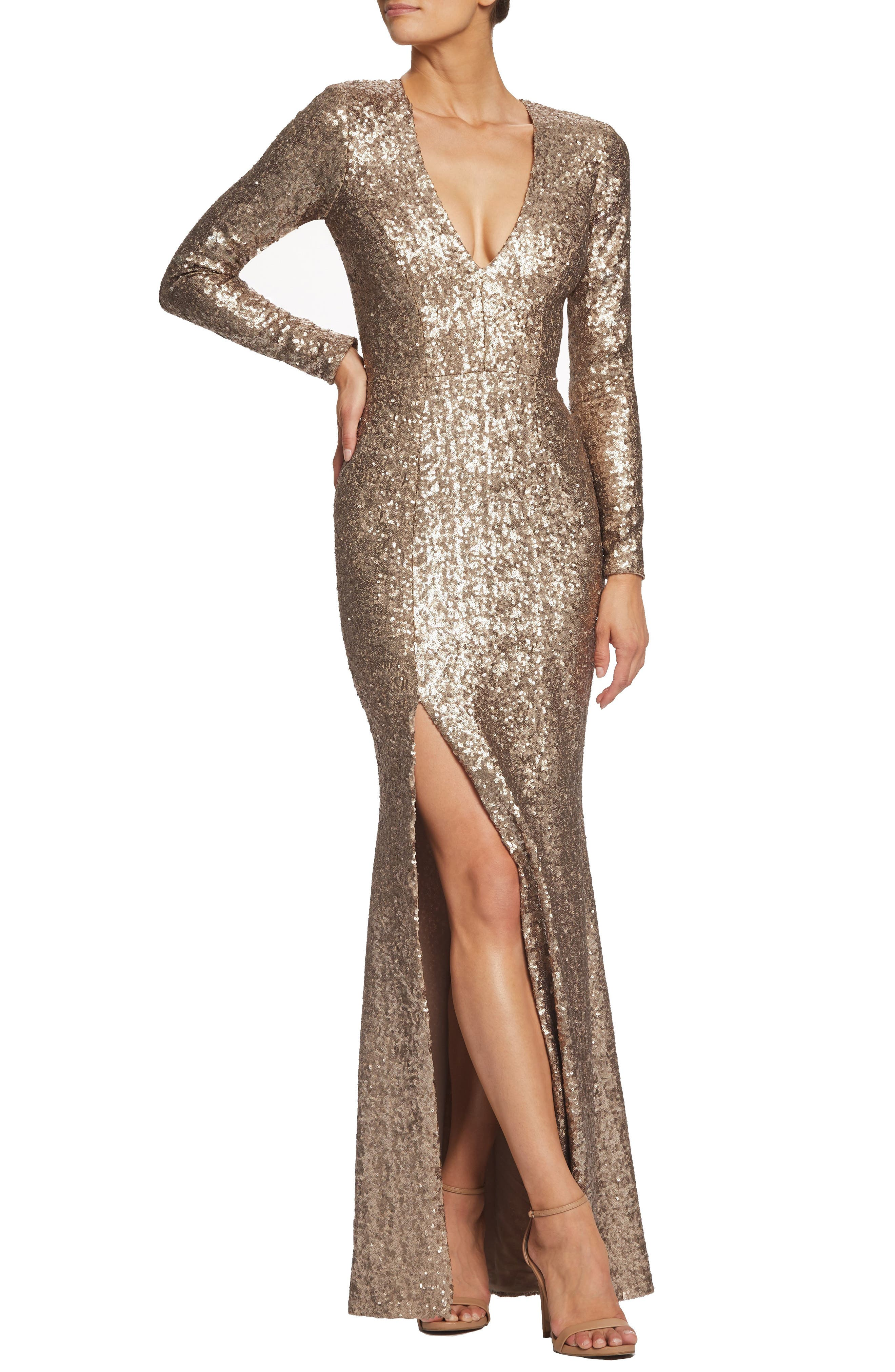 Dress The Population Allesandra Sequin Dress, Beige