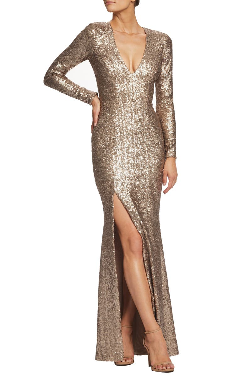 Allesandra Sequin Dress,                         Main,                         color, BRASS