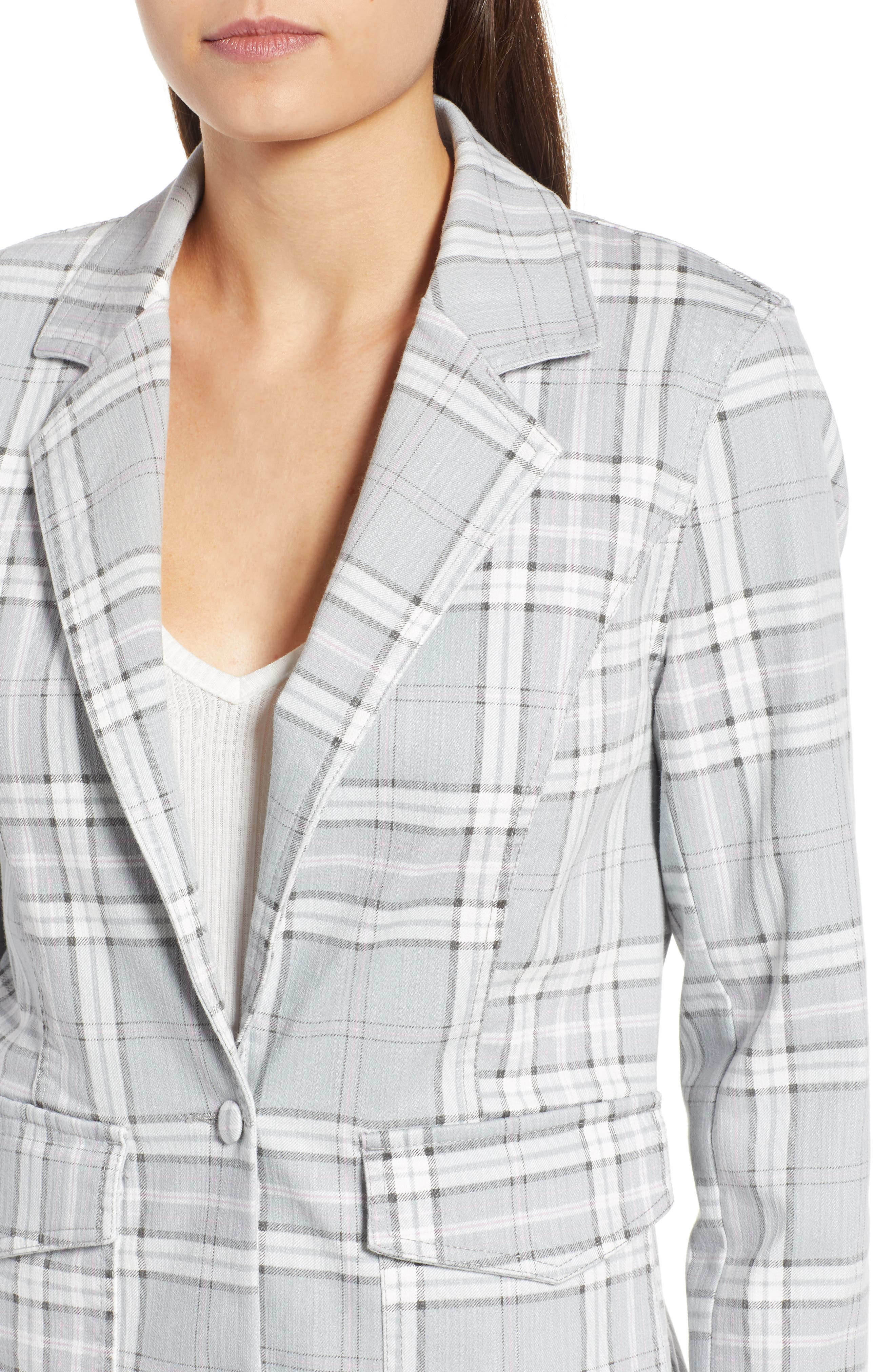 Lila Plaid Blazer,                             Alternate thumbnail 4, color,                             SOFT GREY PLAID