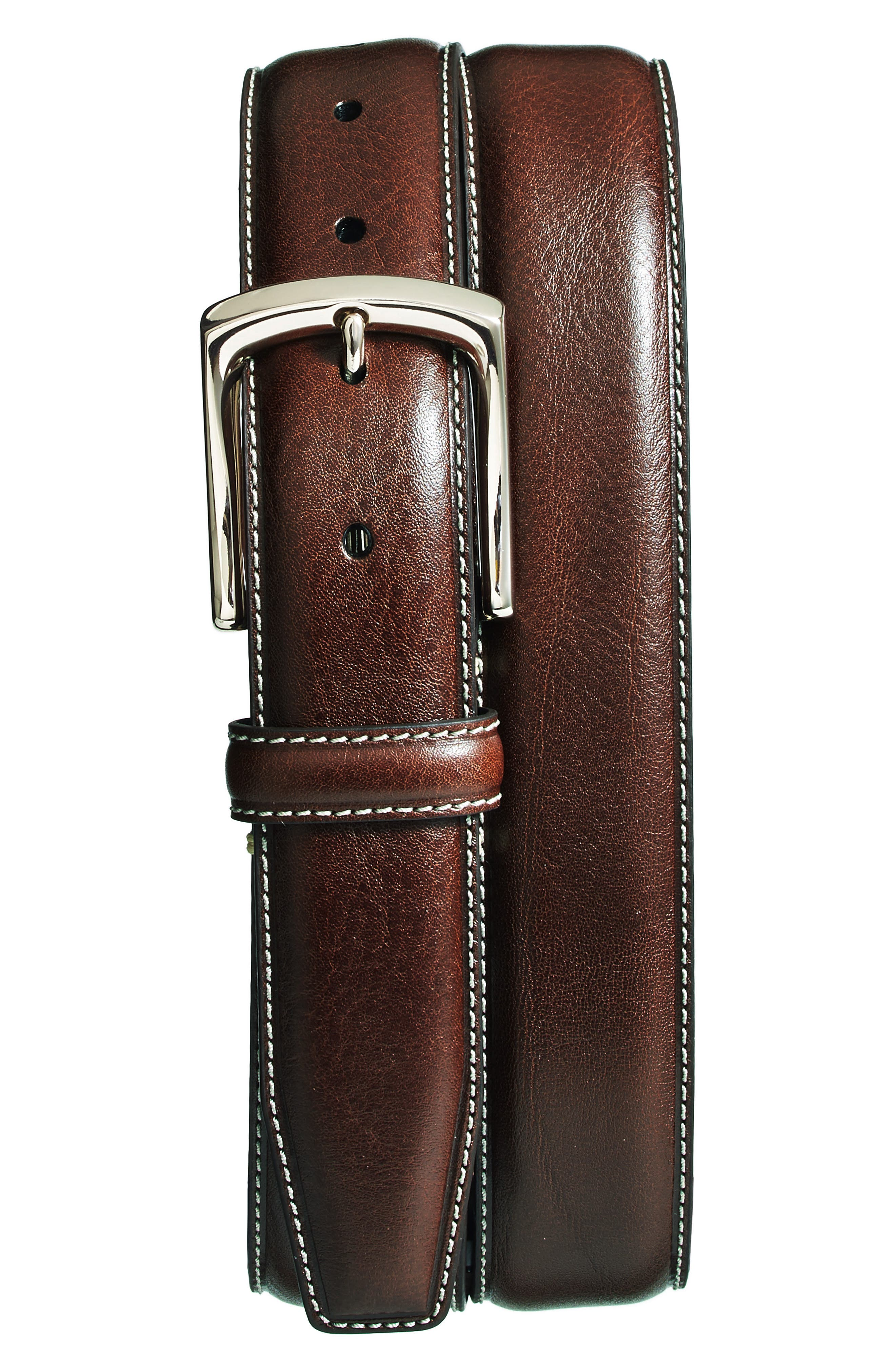 Burnished Leather Belt,                             Main thumbnail 1, color,                             BROWN