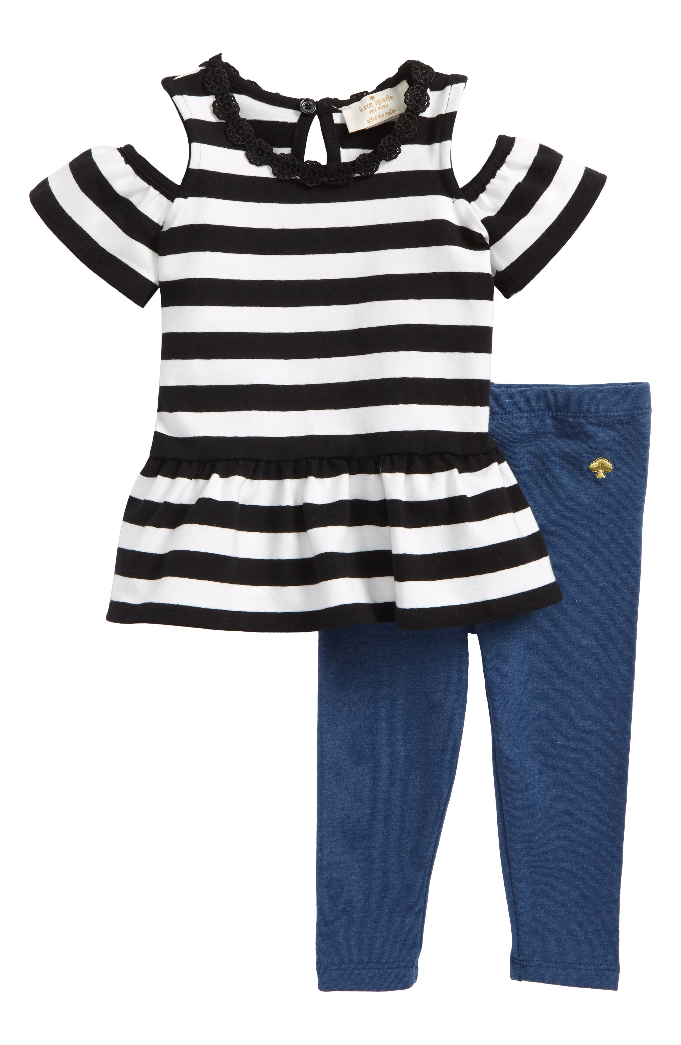 stripe peplum top & leggings set,                         Main,                         color, 104