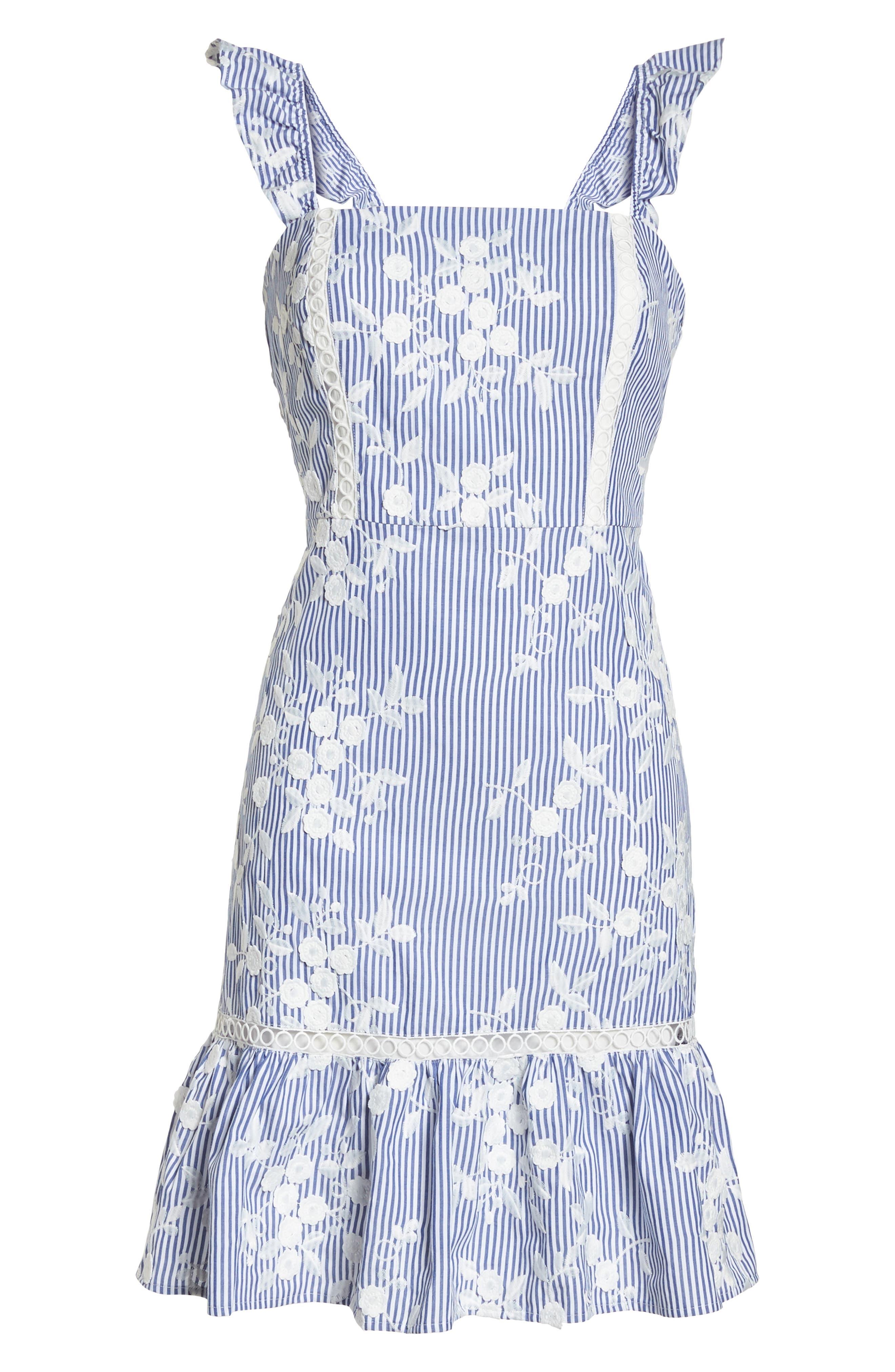 Embroidered Ruffle Hem Sundress,                             Alternate thumbnail 7, color,                             WHITE/ BLUE