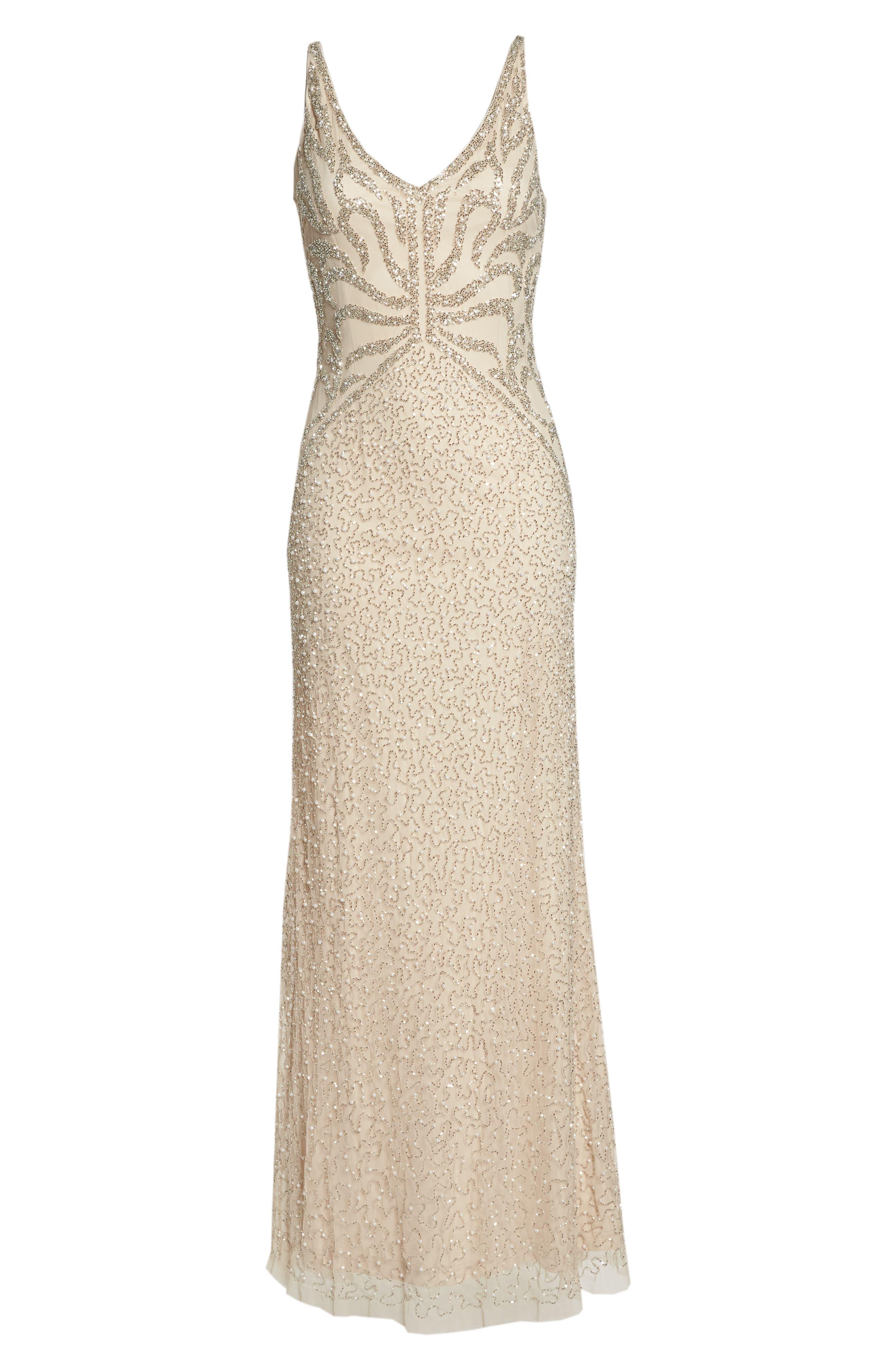 Beaded V-Neck Gown,                             Alternate thumbnail 6, color,                             250