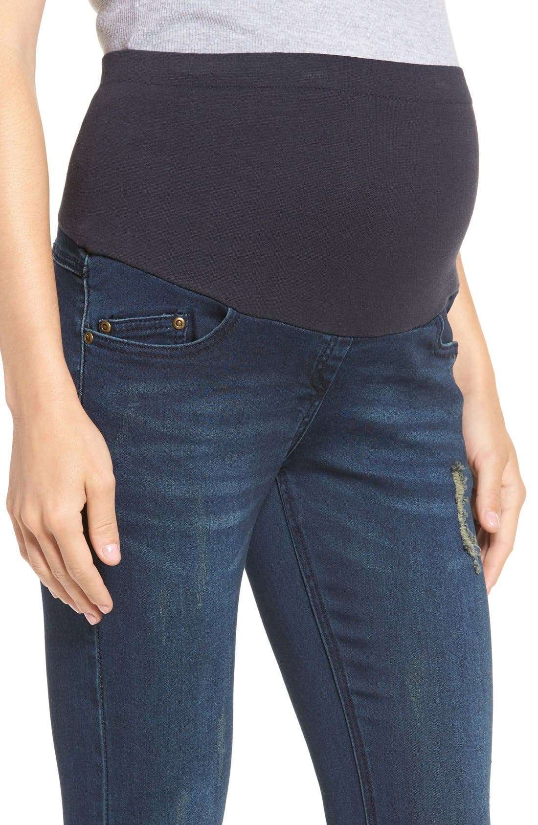 Distressed Skinny Maternity Jeans,                             Alternate thumbnail 5, color,                             400