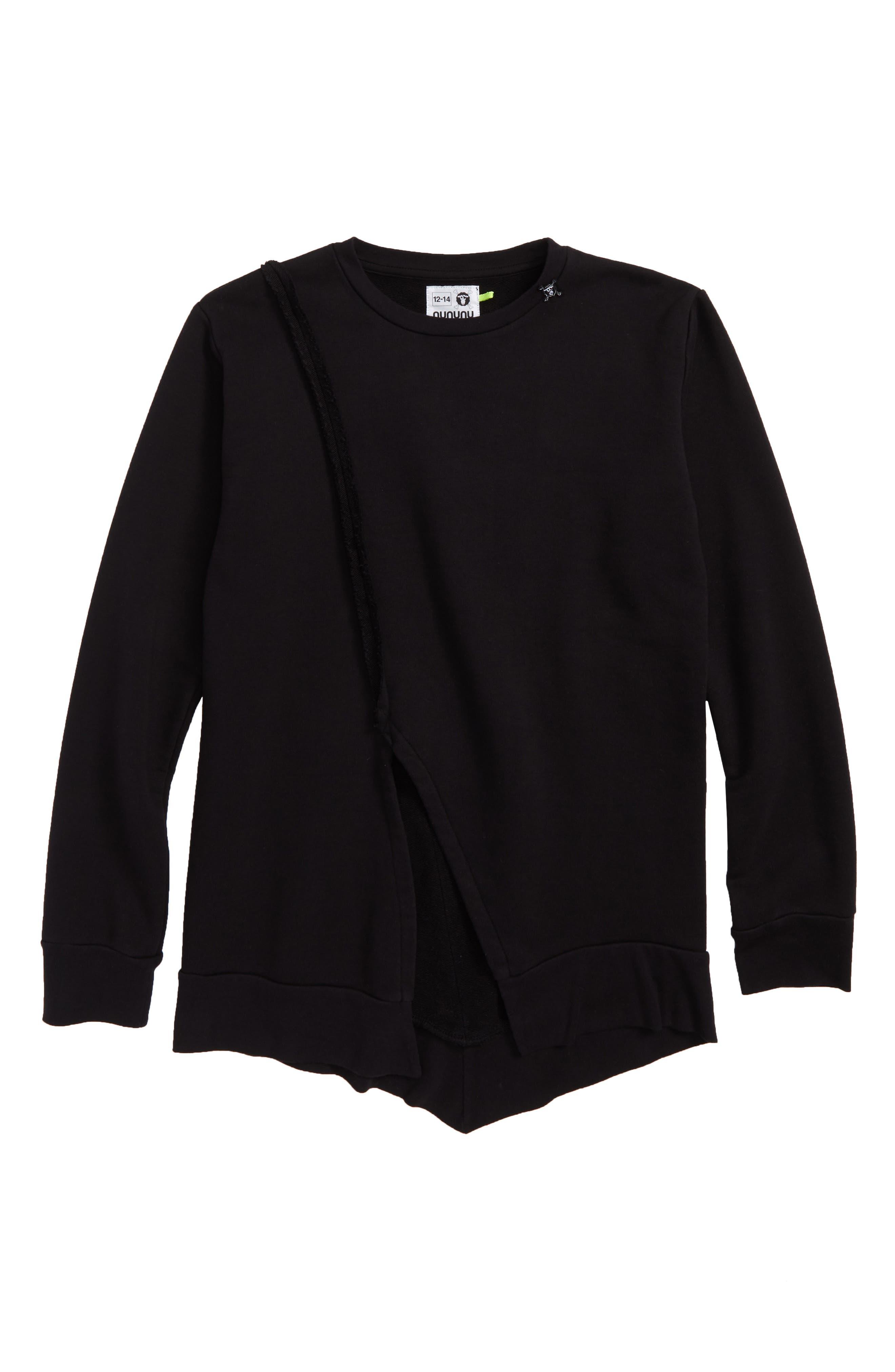 Penguin Sweatshirt,                         Main,                         color, BLACK