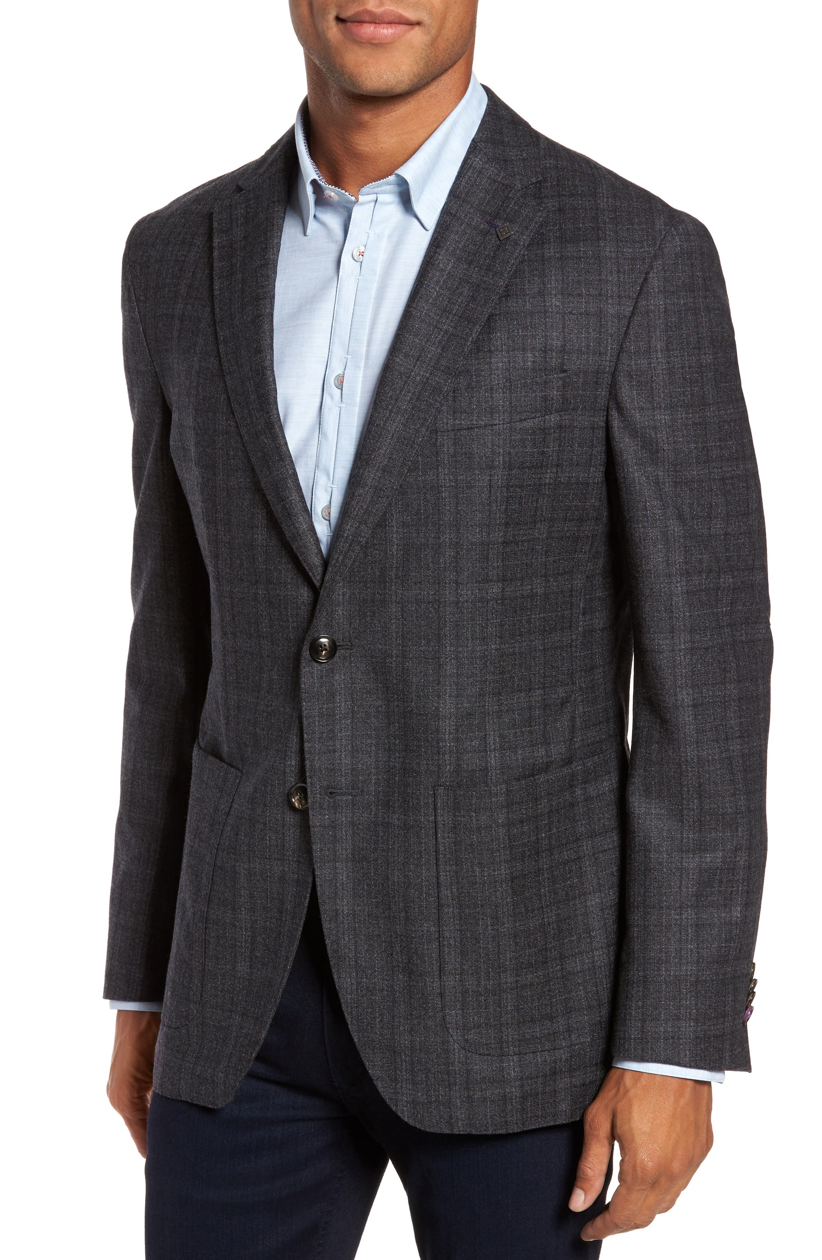 Trim Fit Plaid Wool Sport Coat,                             Alternate thumbnail 4, color,                             020