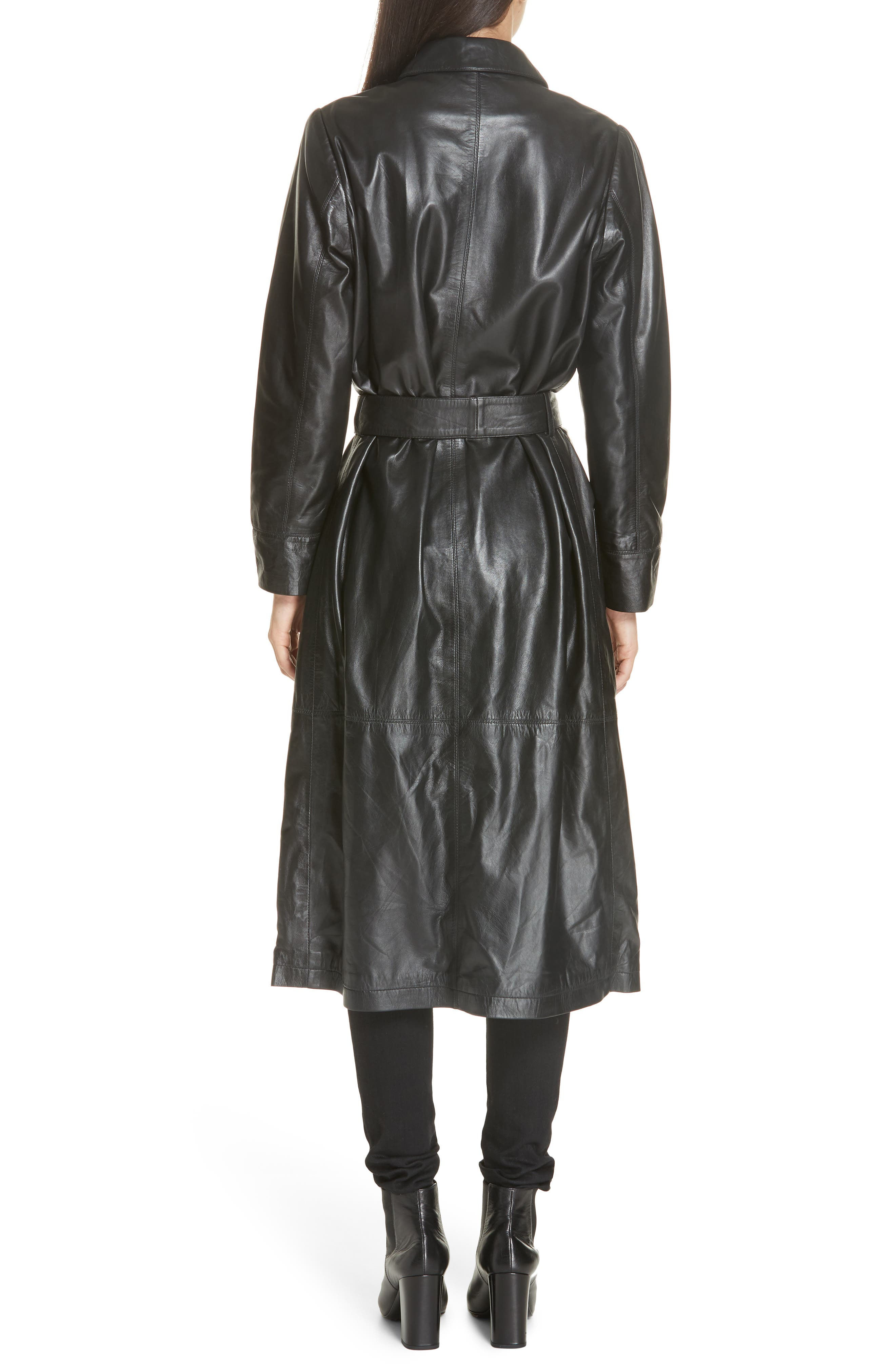 Leather Trench Coat,                             Alternate thumbnail 2, color,                             BLACK